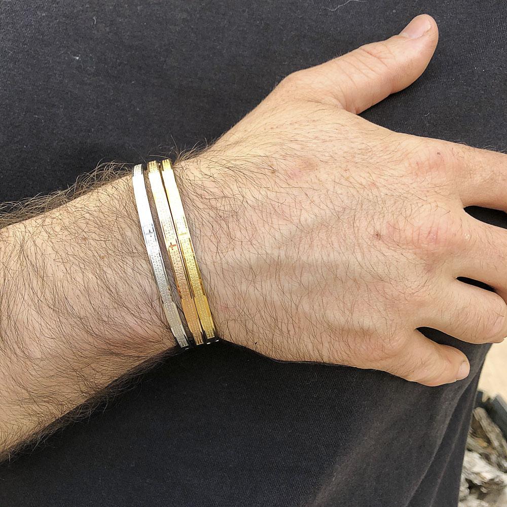 Bracelete de Aço Inox Trio (Gold, Rose e Silver) Pai Nosso.