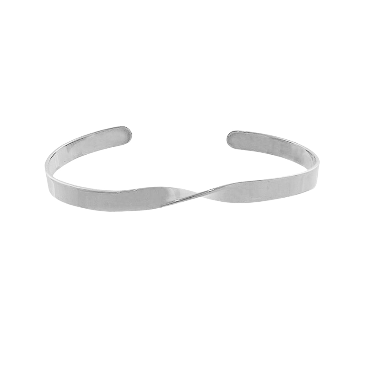 Bracelete folheado platina semijoia regulável Chapa torcida