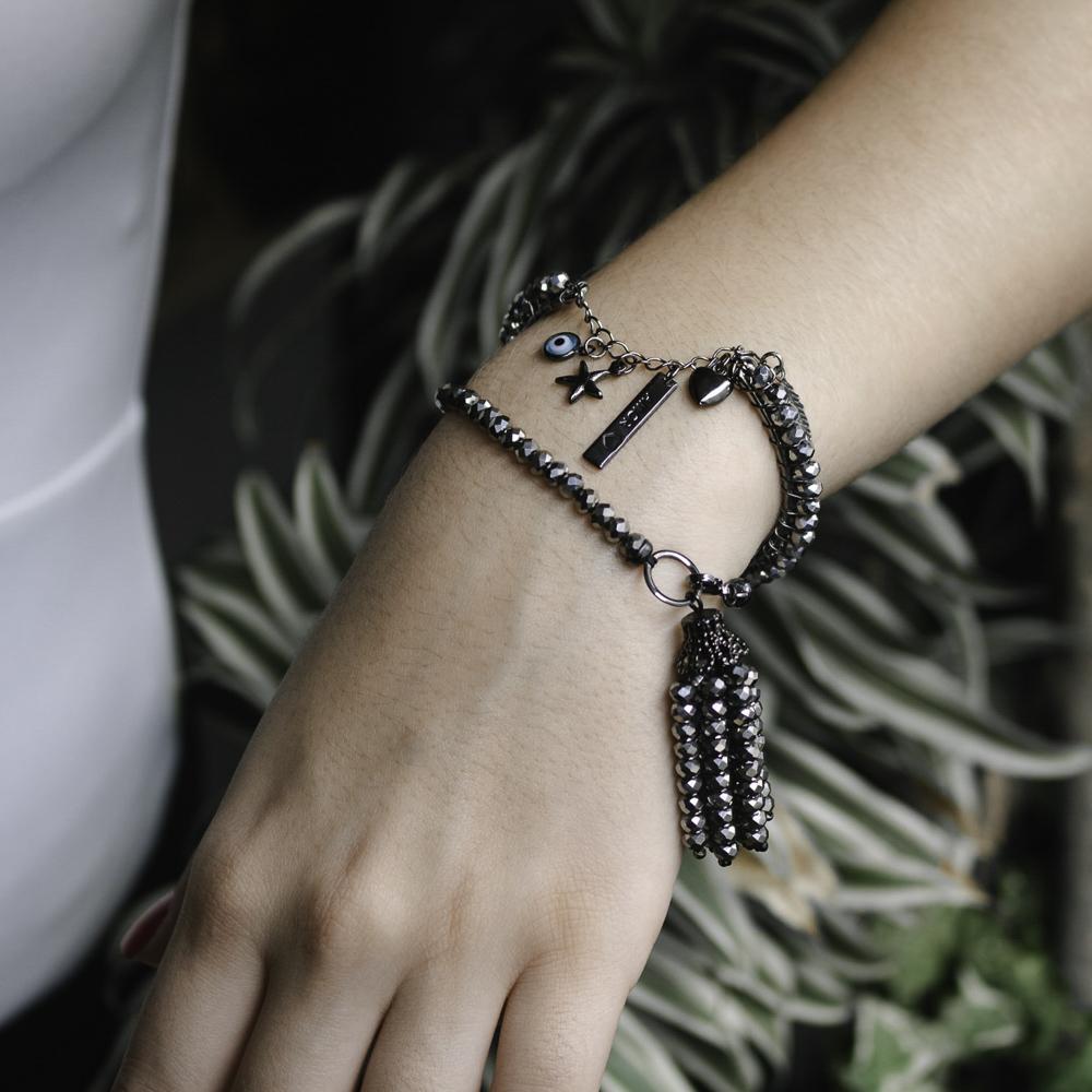Bracelete folheado semijoia Patuá aramado em cristais