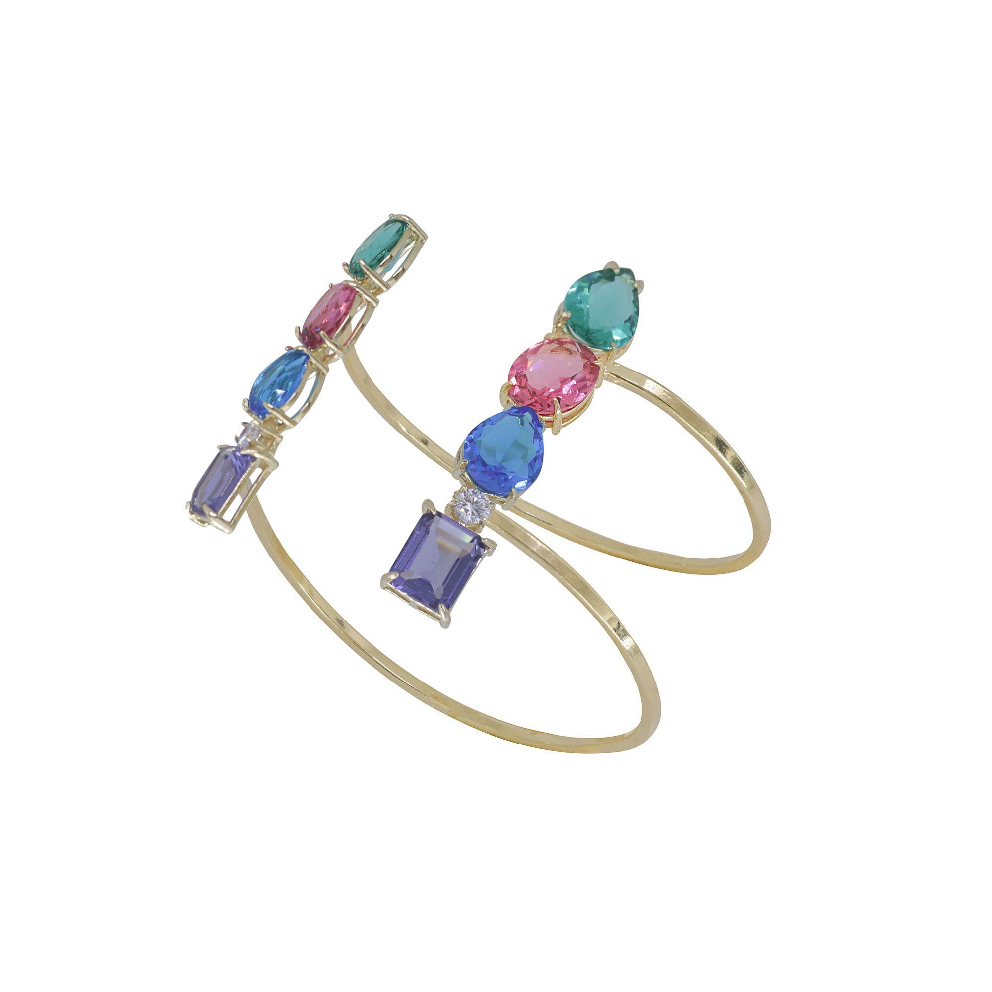 Bracelete regulável semi joia Colorato com cristais, microzircônias e banhado a ouro 18k ou rhodium