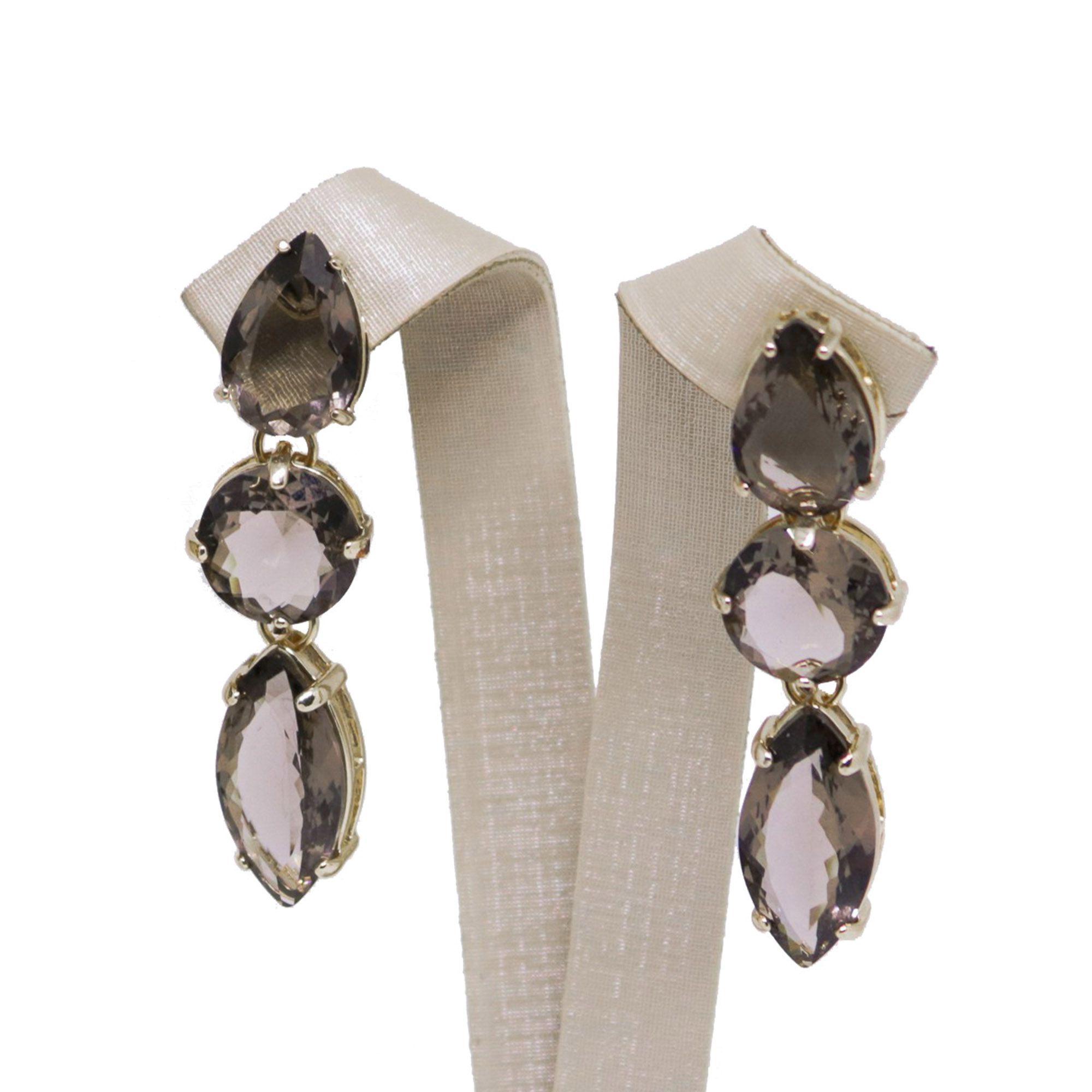 Brinco Semi joia cristais banhado a ouro 18k ou rhodium