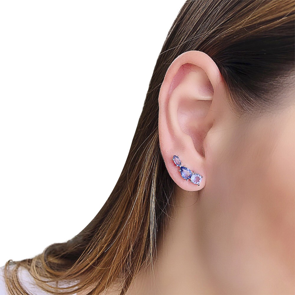 Brinco Ear cuff folheado semijoia 3 Cristais