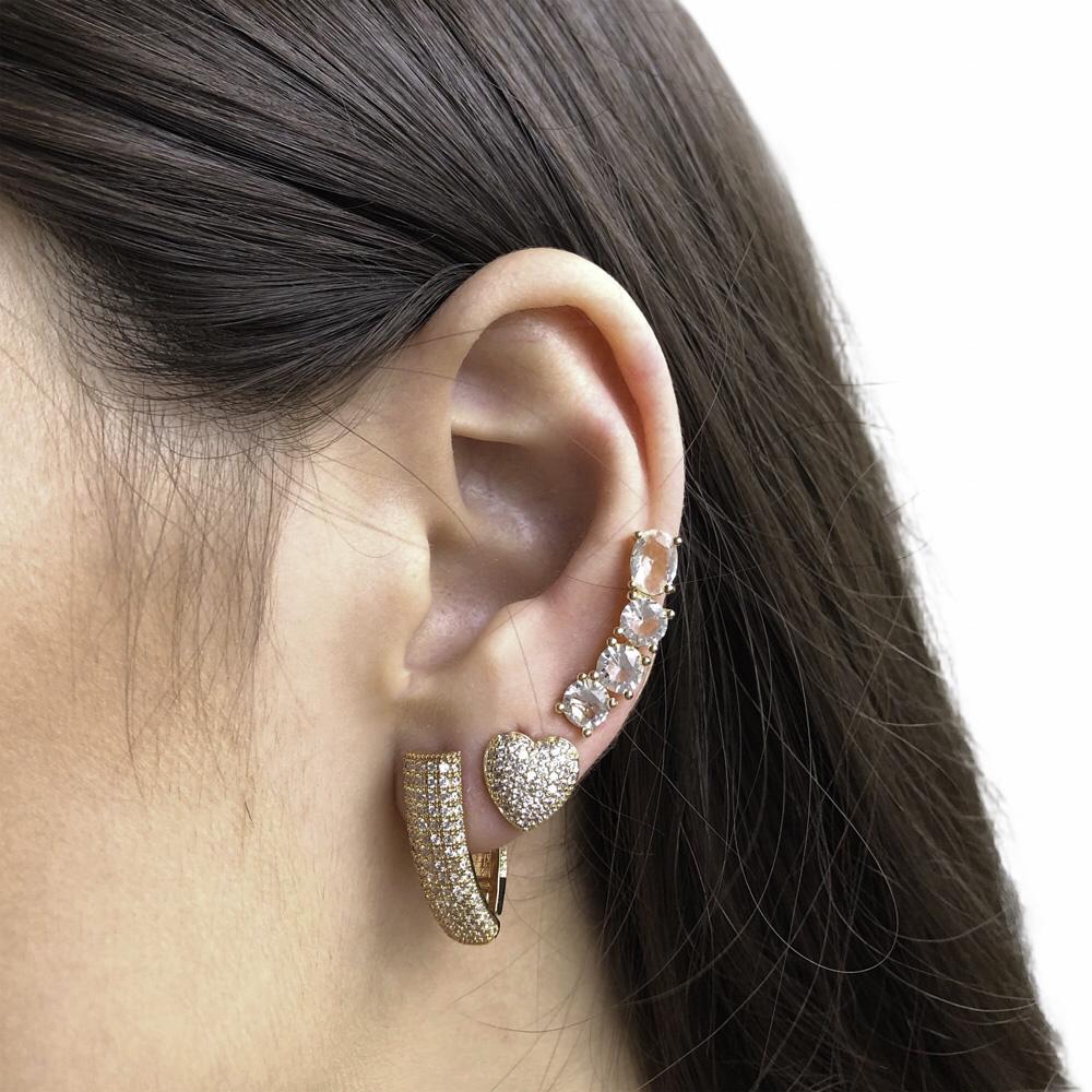 Brinco Ear cuff folheado semijoia em cristal 4 pedras