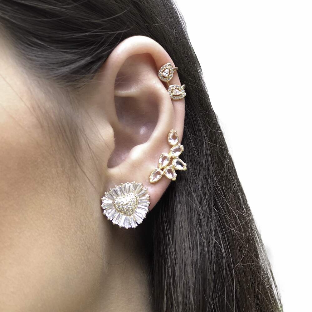 Brinco Ear cuff folheado semijoia gotas em cristal