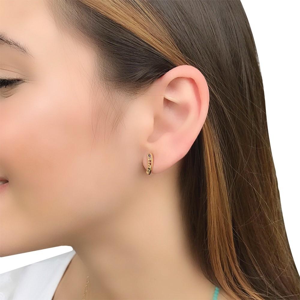 Brinco Ear cuff semijoia cravejado e folheado Mimos