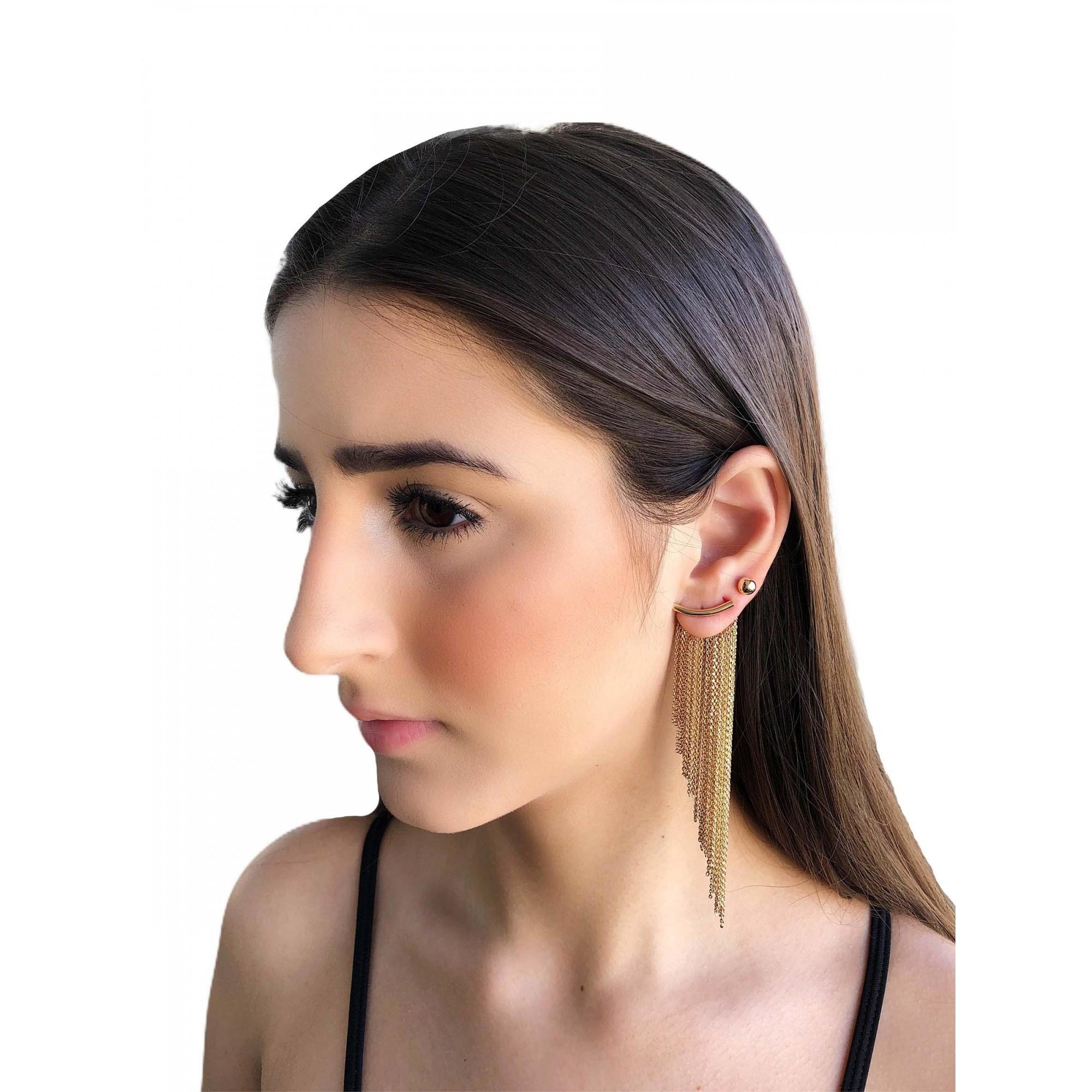 Brinco Ear jacket franjas semijoia folheado a ouro ou ródio