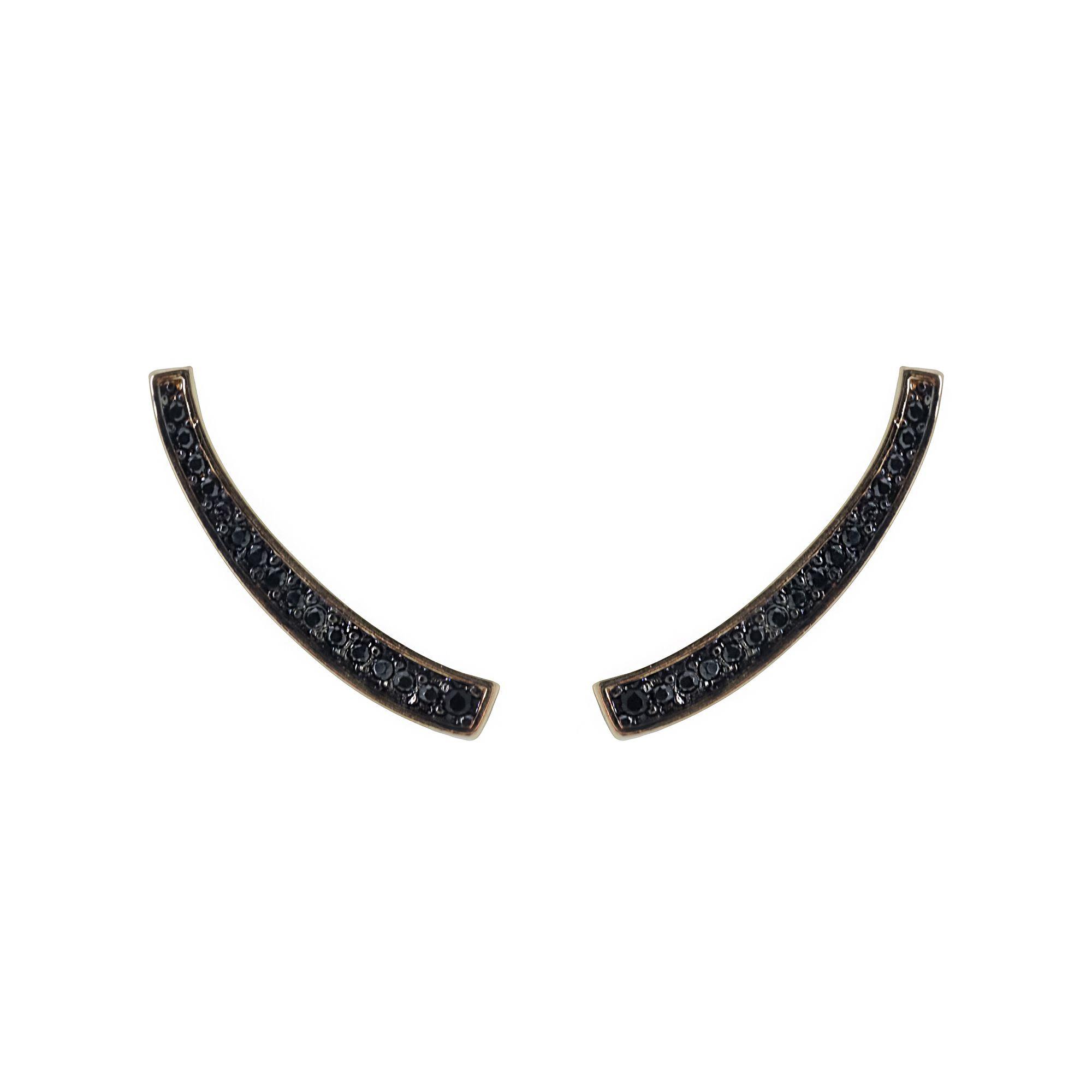 Brinco Ear cuff cravejado de zirconia e folheado cores longo