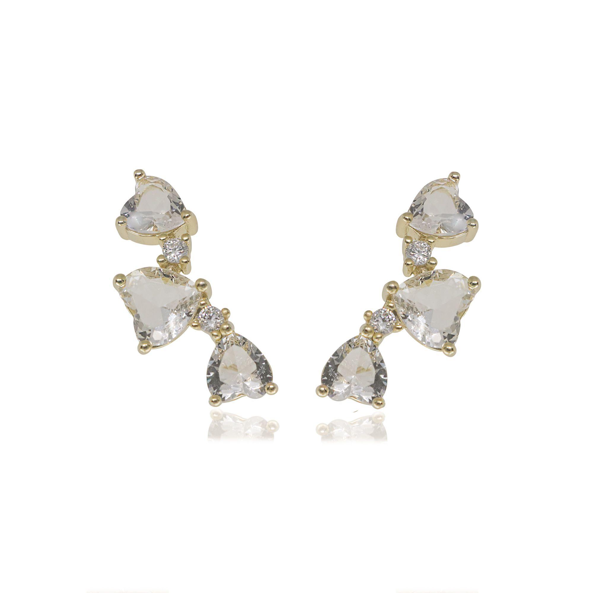 Brinco Ear cuff semijoia com zirconia e cristal 3 corações