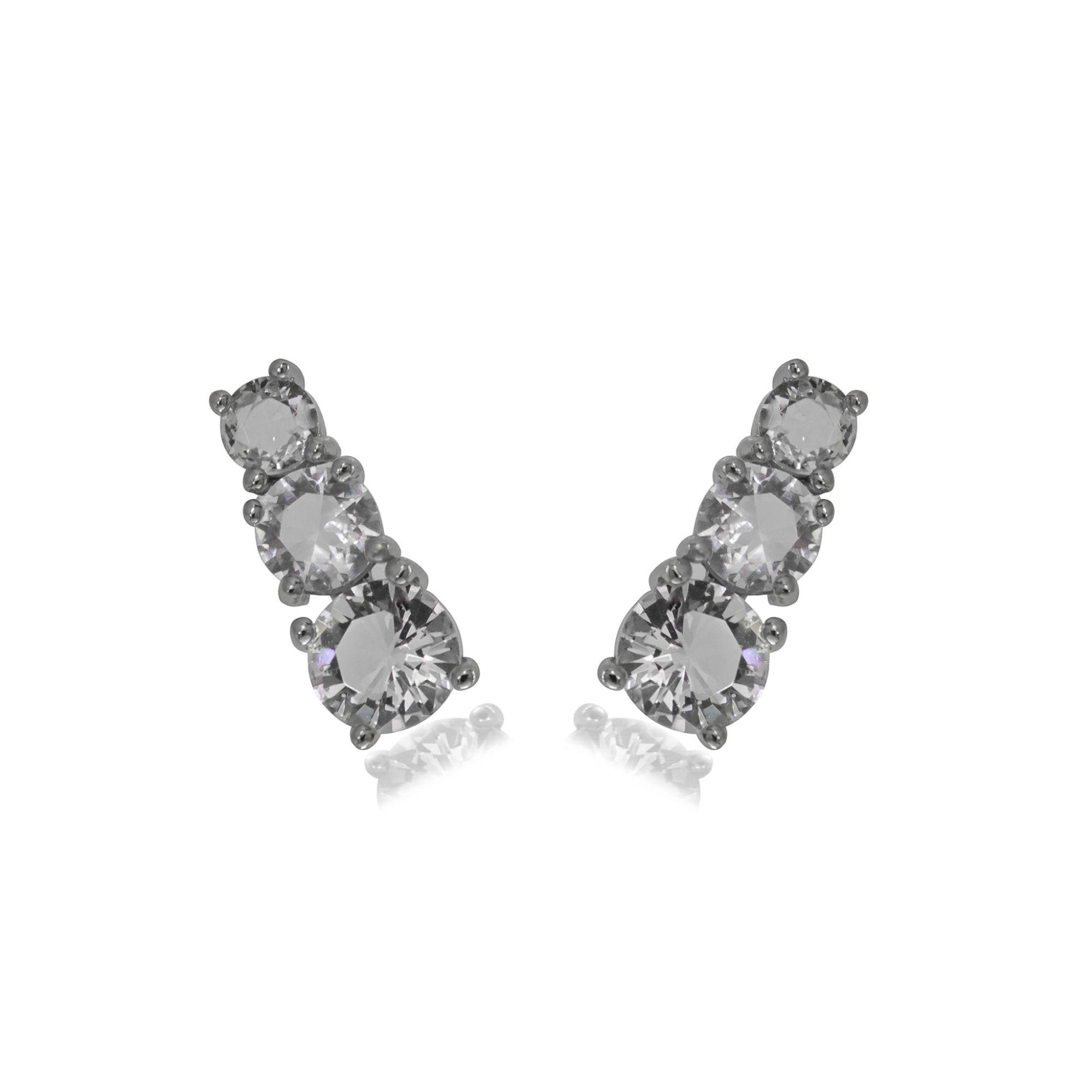 Brinco Ear cuff folheado semijoia em cristal 3 pedras