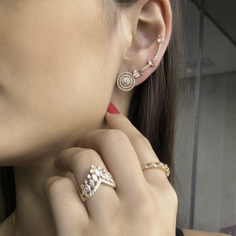 Brinco Ear cuff semijoia cristal e zirconia folheado