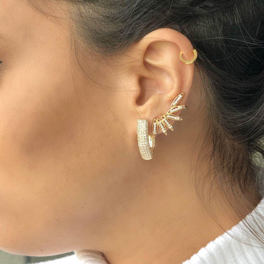 Brinco Ear cuff semijoia com zirconia navettes folheado