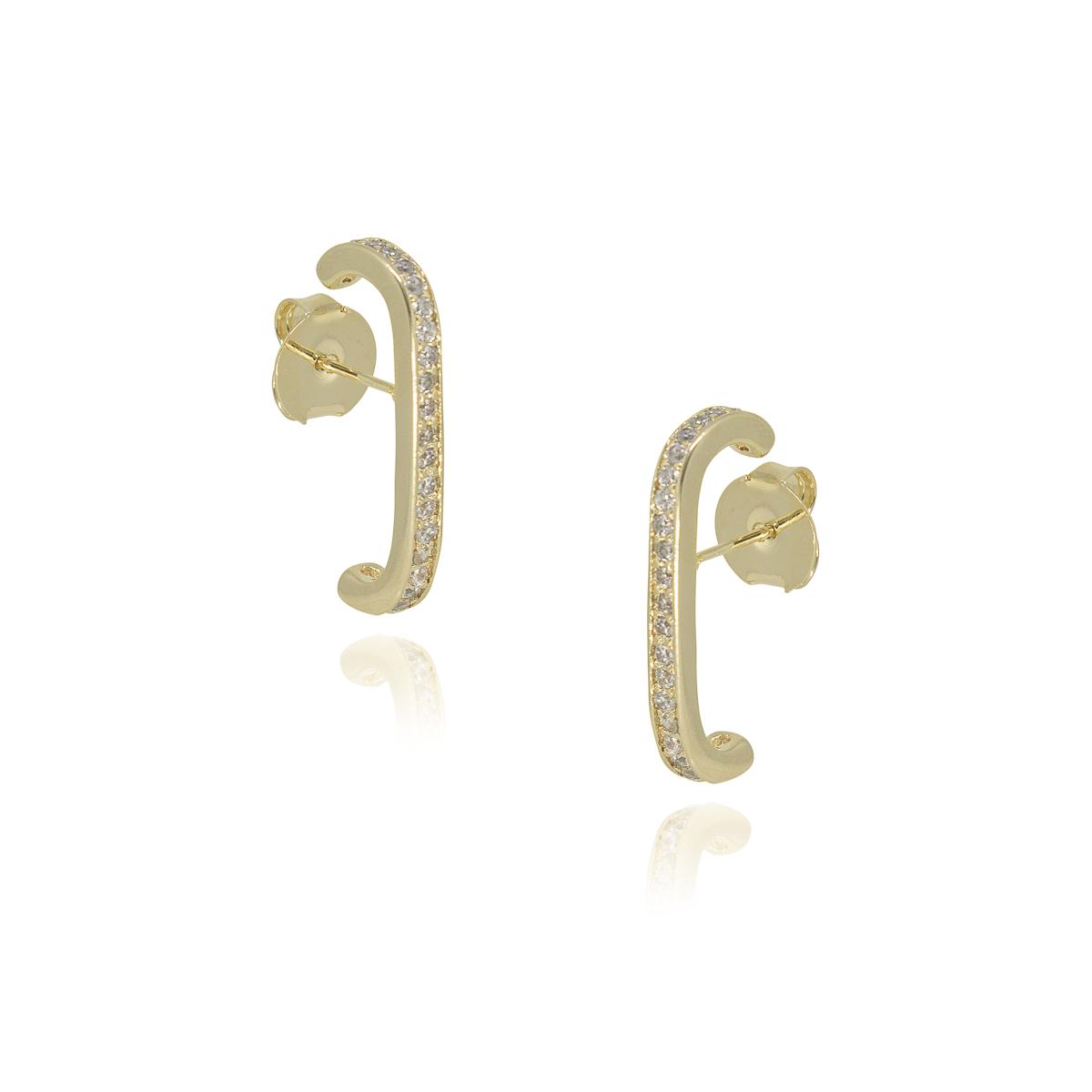 Brinco Earhook Semi joia folheada a ouro cravejado zircônia