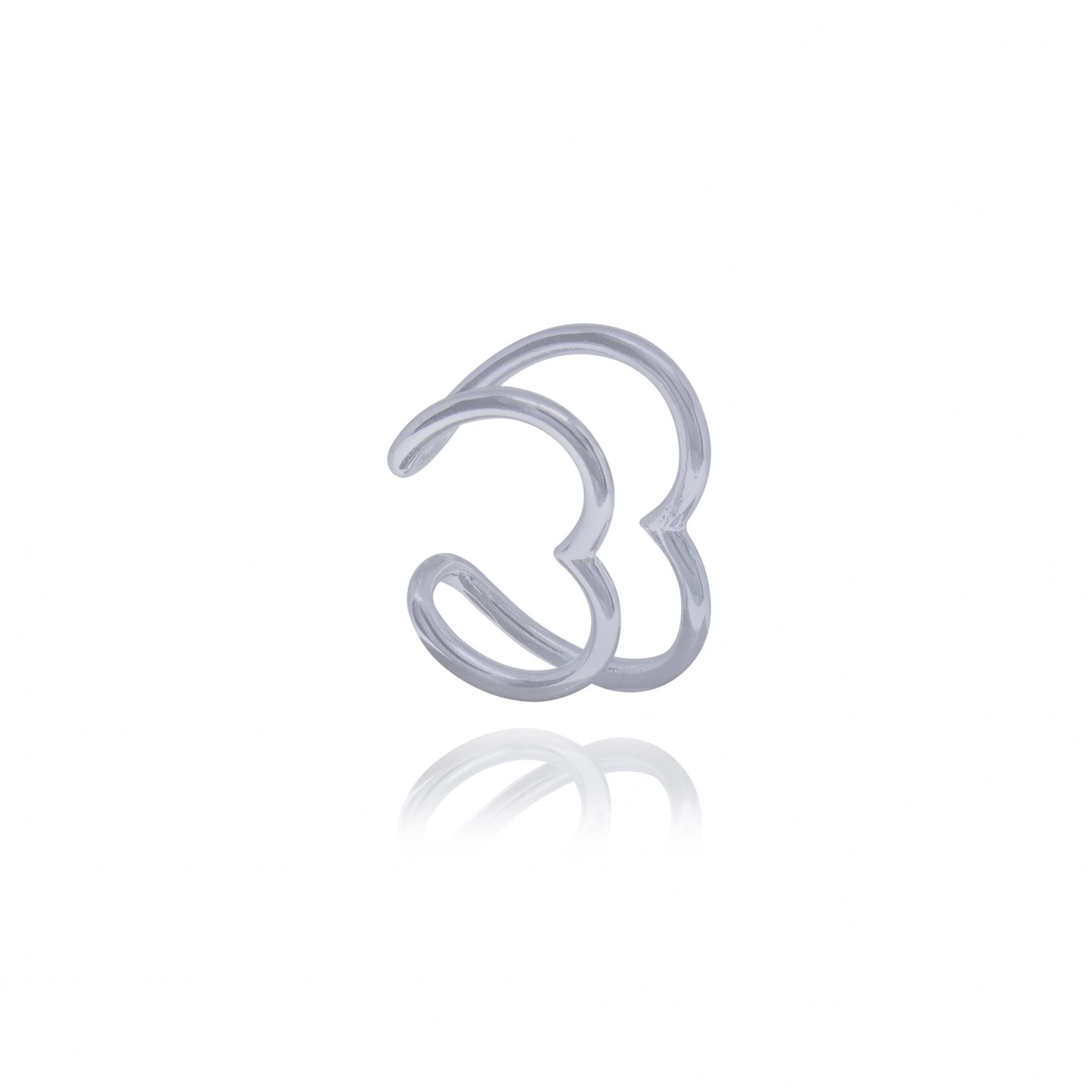 Brinco Earhook semijoia de encaixe coração duplo em Platina