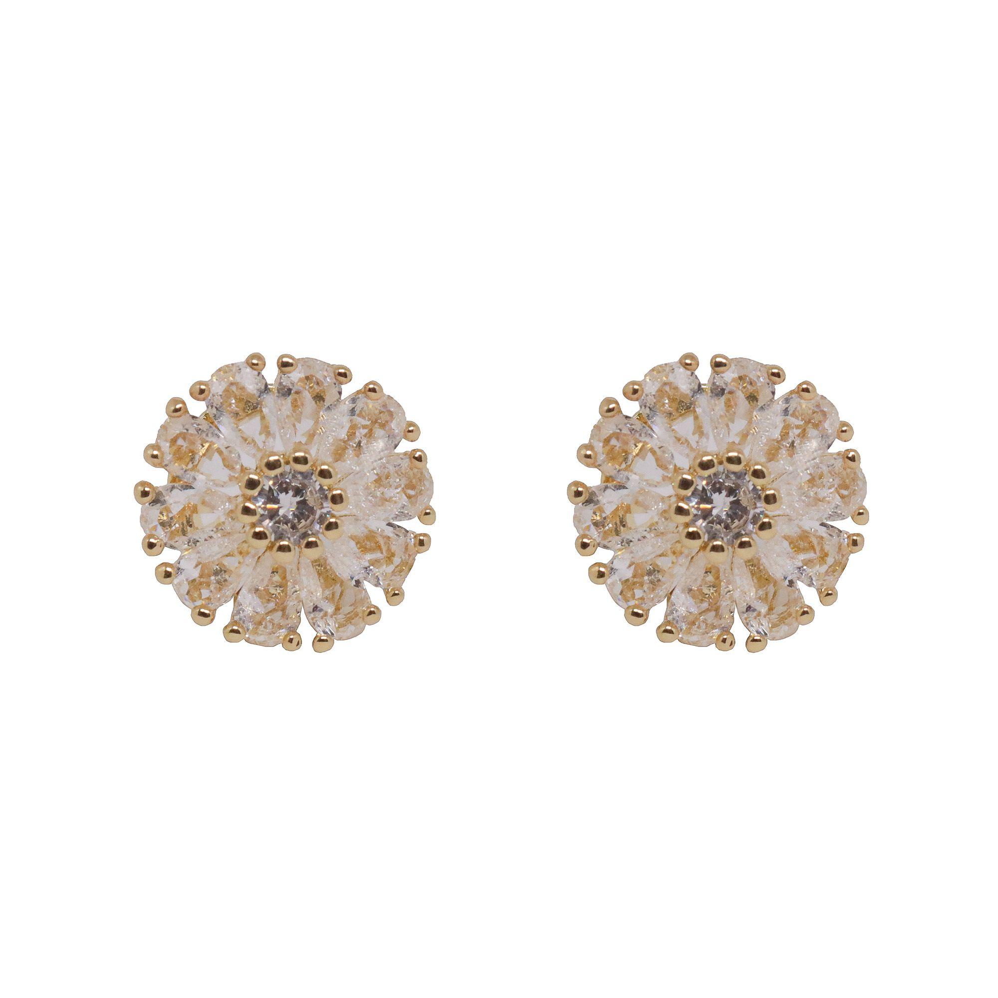 Brinco Semi joia  flor  zircônia Fusion banhado a ouro 18k ou rhodium