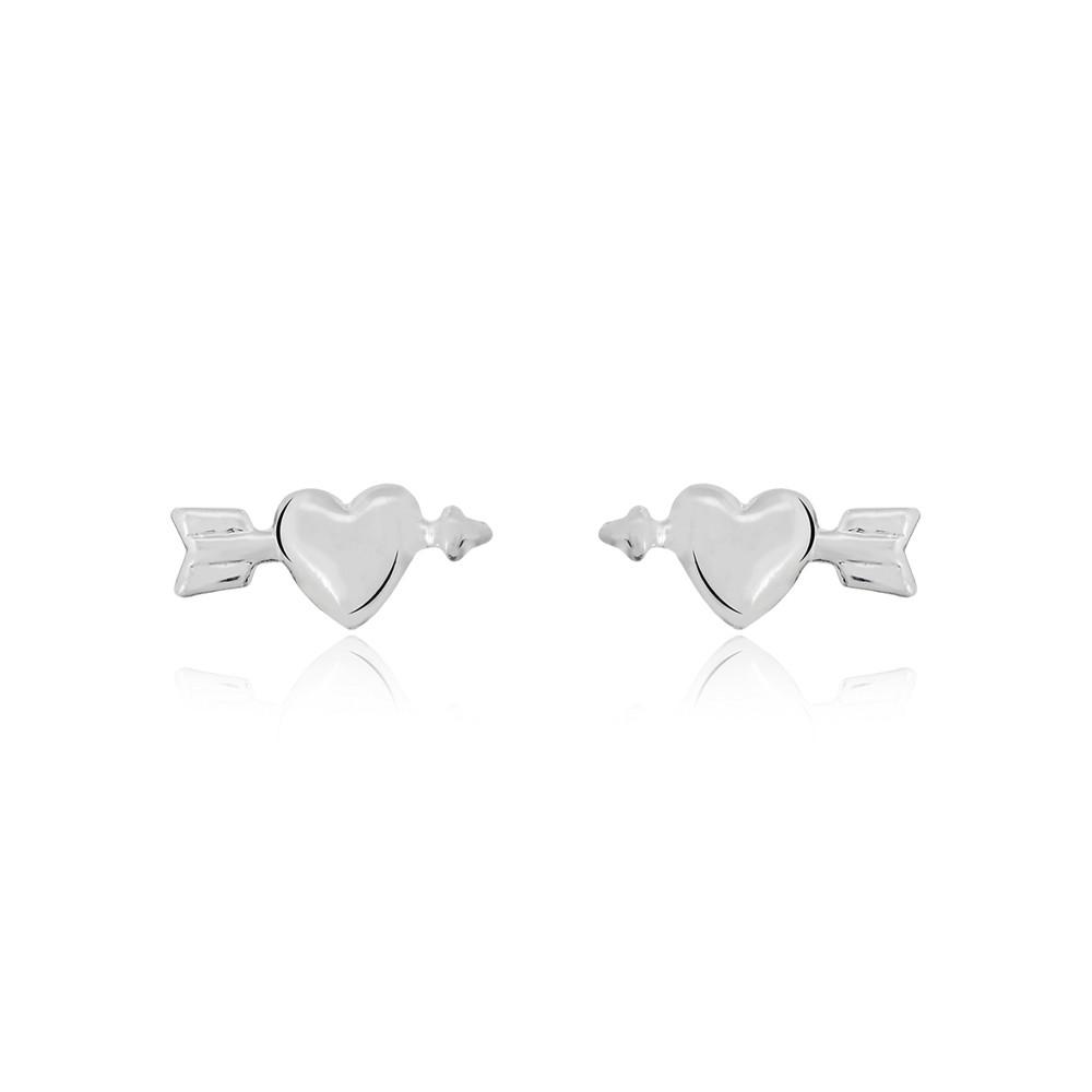 Brinco joia prata 925 pura coração flechado hipoalergênica
