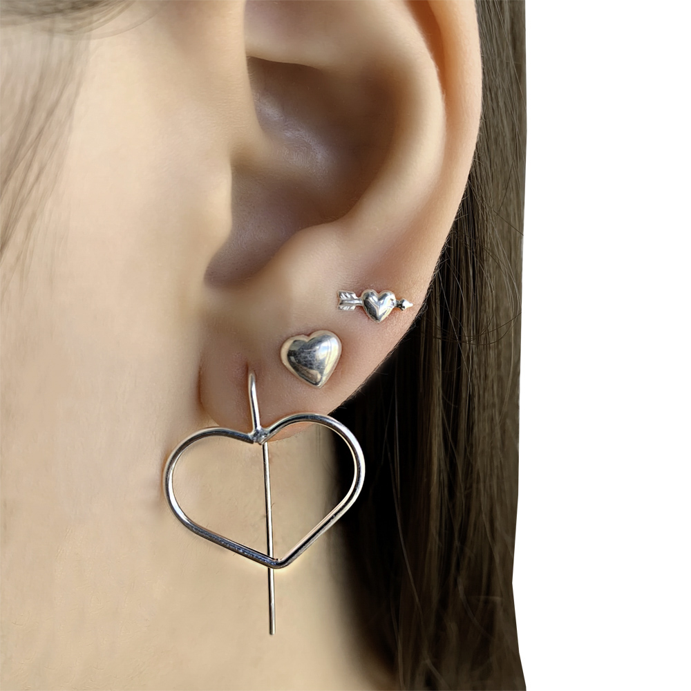 Brinco joia em prata 925 pura coração mini hipoalergênica