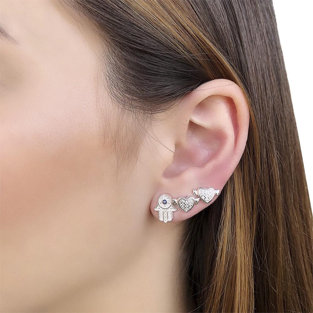 Brinco joia em prata 925 cravejado zirconia coração flechado