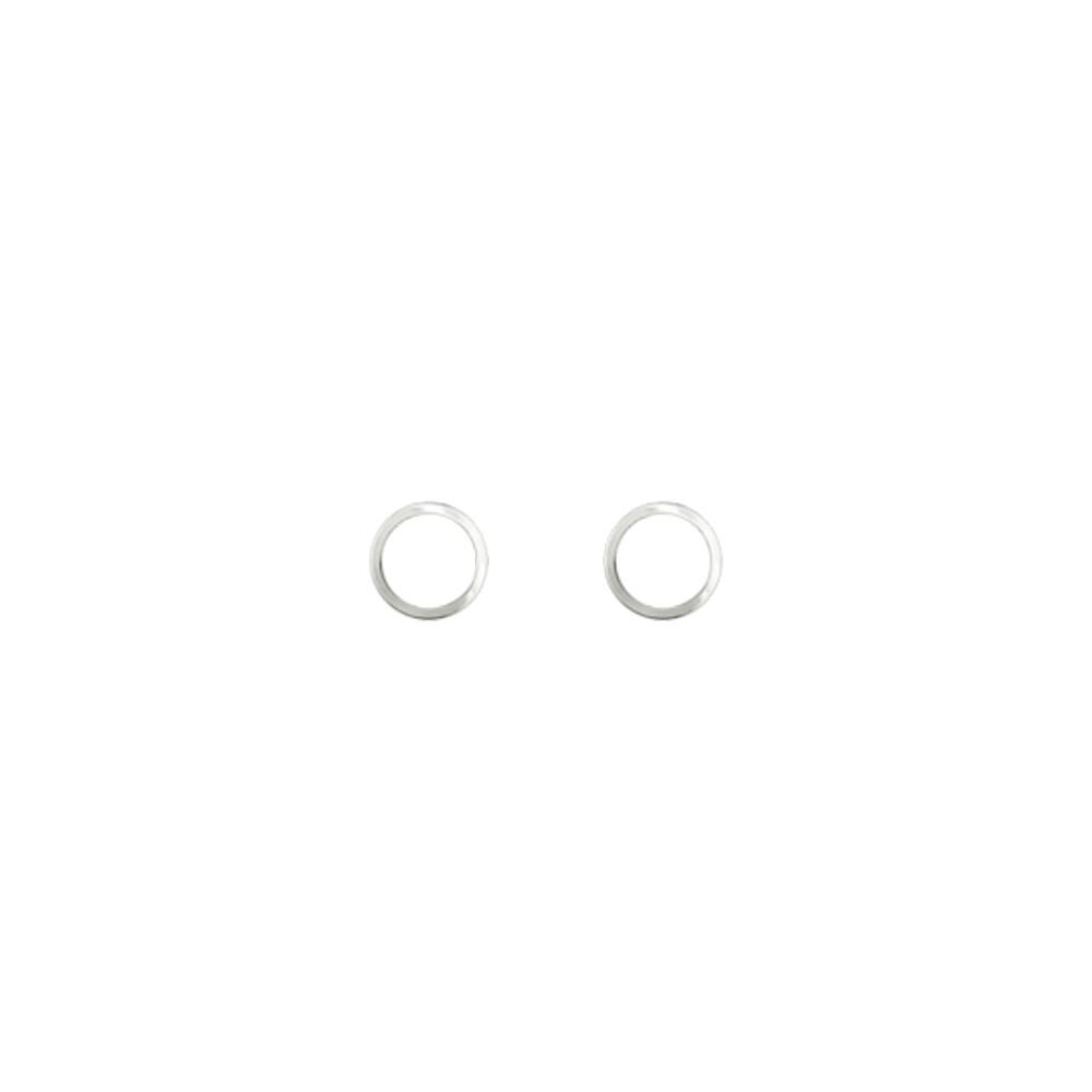 Brinco joia prata 925 pura minimalista chapa redonda vazada