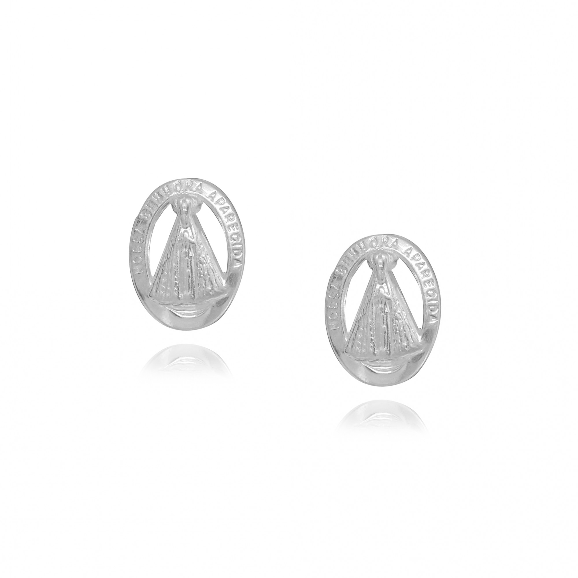 Brinco joia em prata 925 Nossa Senhora Aparecida oval