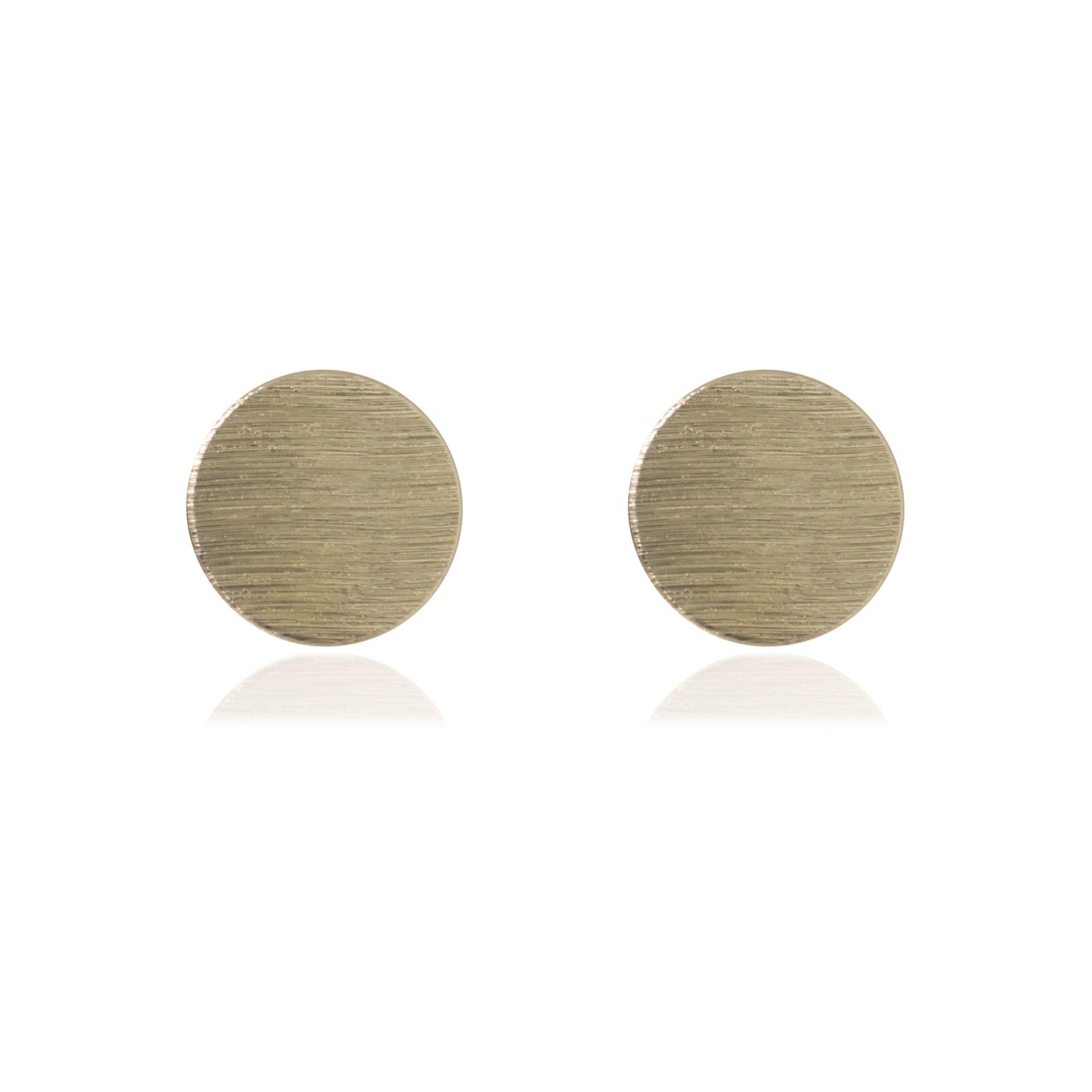 Brinco plaquinha redonda semi joia banhada a ouro 18k ou rhodium
