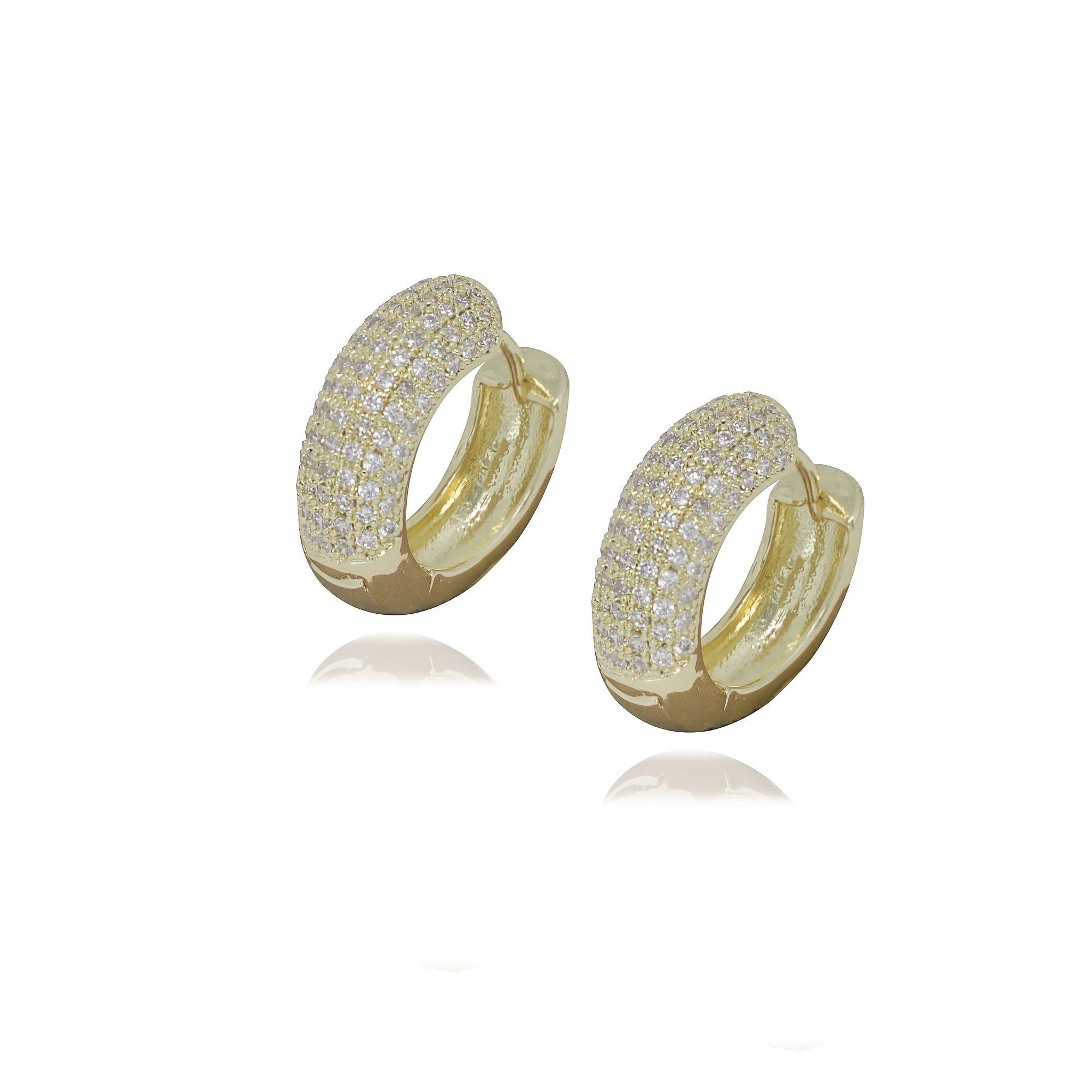 Brinco Semi joia argola  2,2 x 0,9 cm cravejada em microzircônia e  banhada a ouro 18k ou rhodium