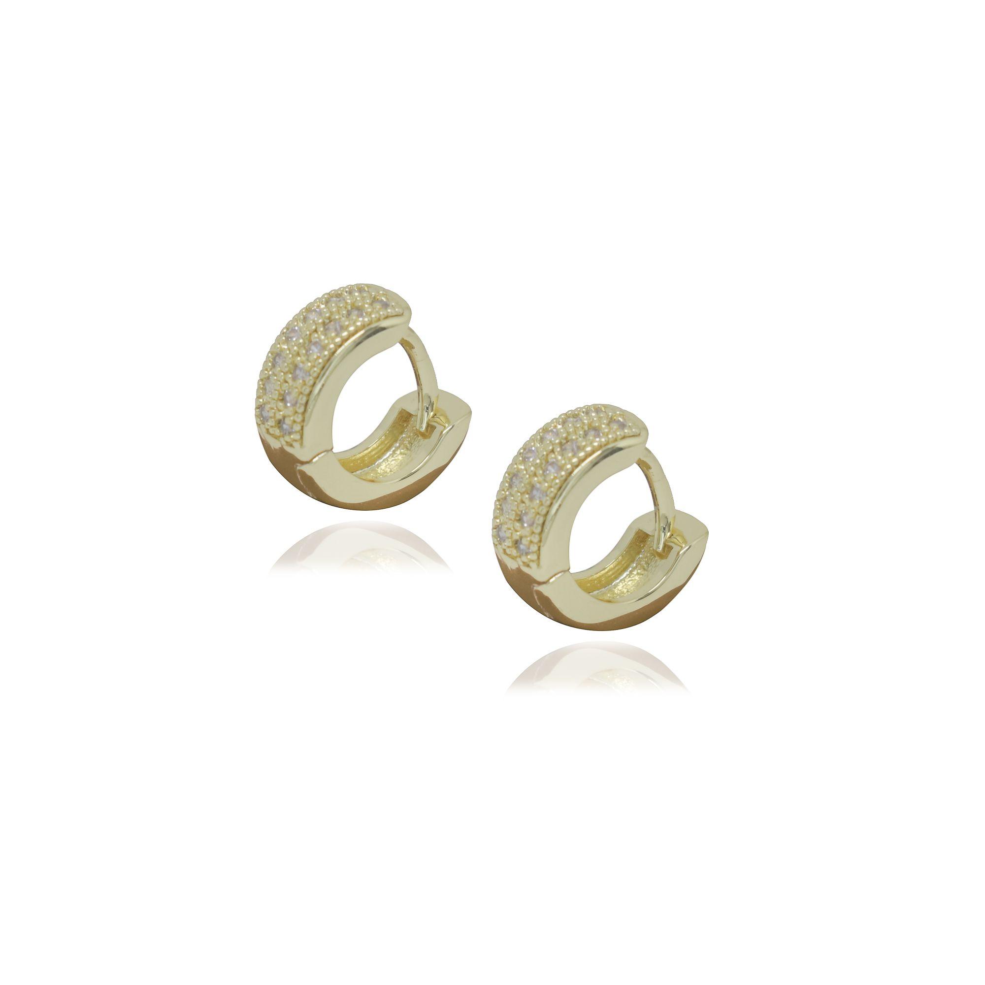 Brinco Semi joia argola  cravejada 1,1 x 0,4 cm cravejada em microzircônia e banhada a ouro 18k ou rhodium