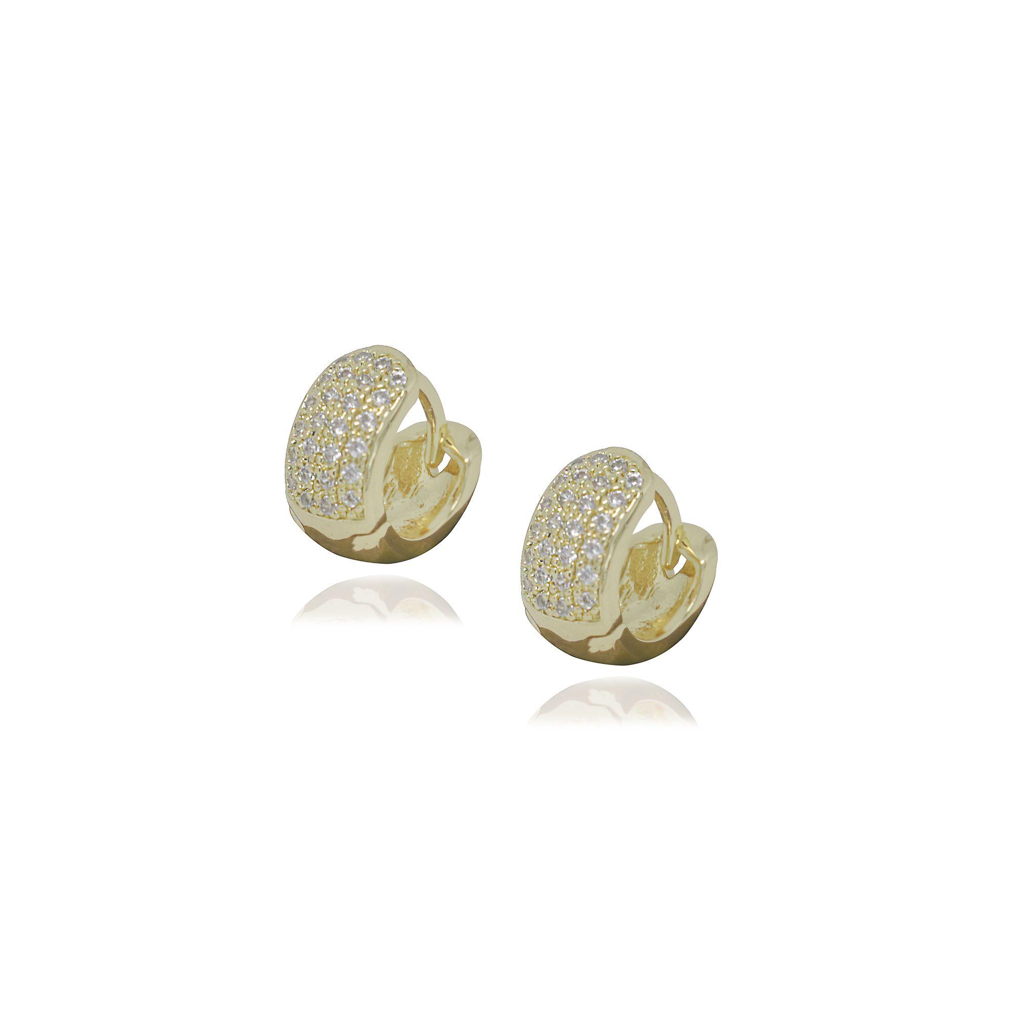 Brinco Semi joia argola  cravejada 1,1 x 0,5 cm cravejada em microzircônia e folheado a ouro 18k ou rhodium