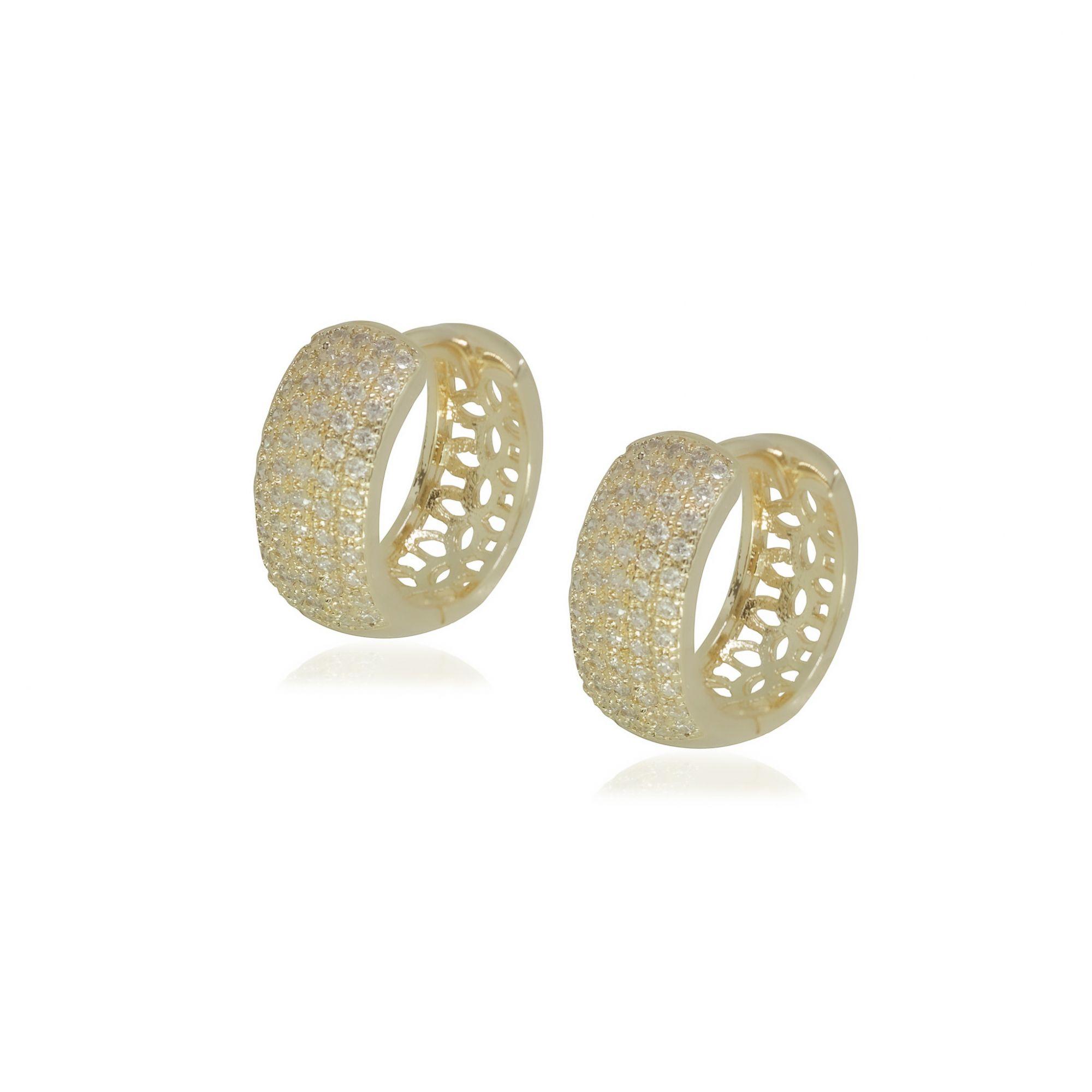 Brinco Semi joia argola cravejada 1,5 x 0,6 cm cravejada em microzircônia e banhada a ouro 18k ou rhodium