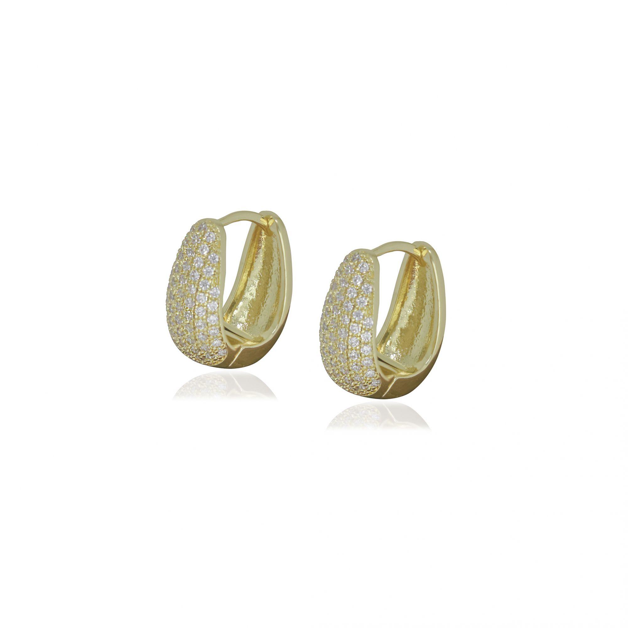 Brinco Semi joia argola cravejada em U 1,5 x 0,8 cm cravejada em microzircônia e folheada a ouro 18k ou rhodium