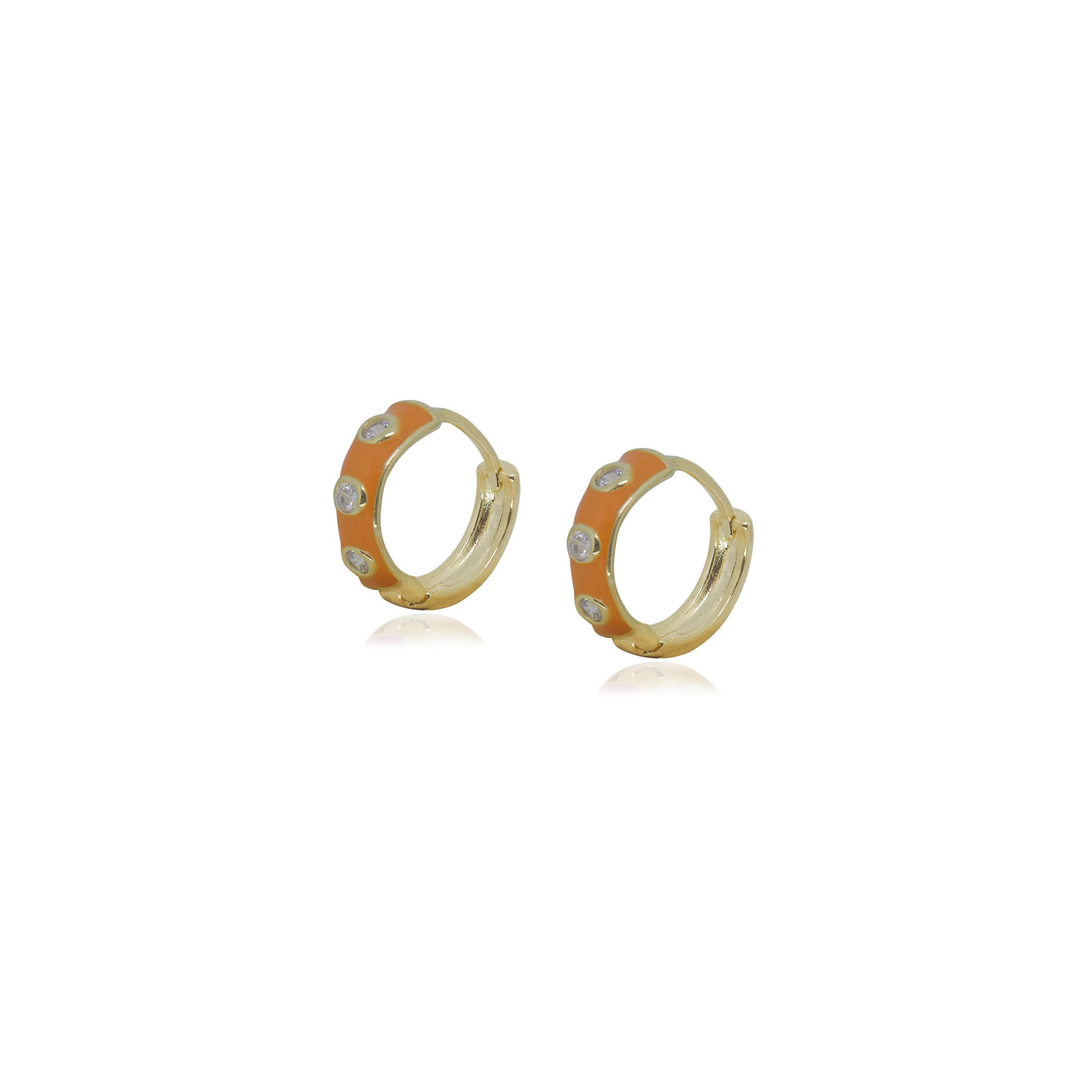 Brinco Semi joia Argola Elite Color com pontos de luz 1,5 cm banhado a ouro 18k ou rhodium e resinada