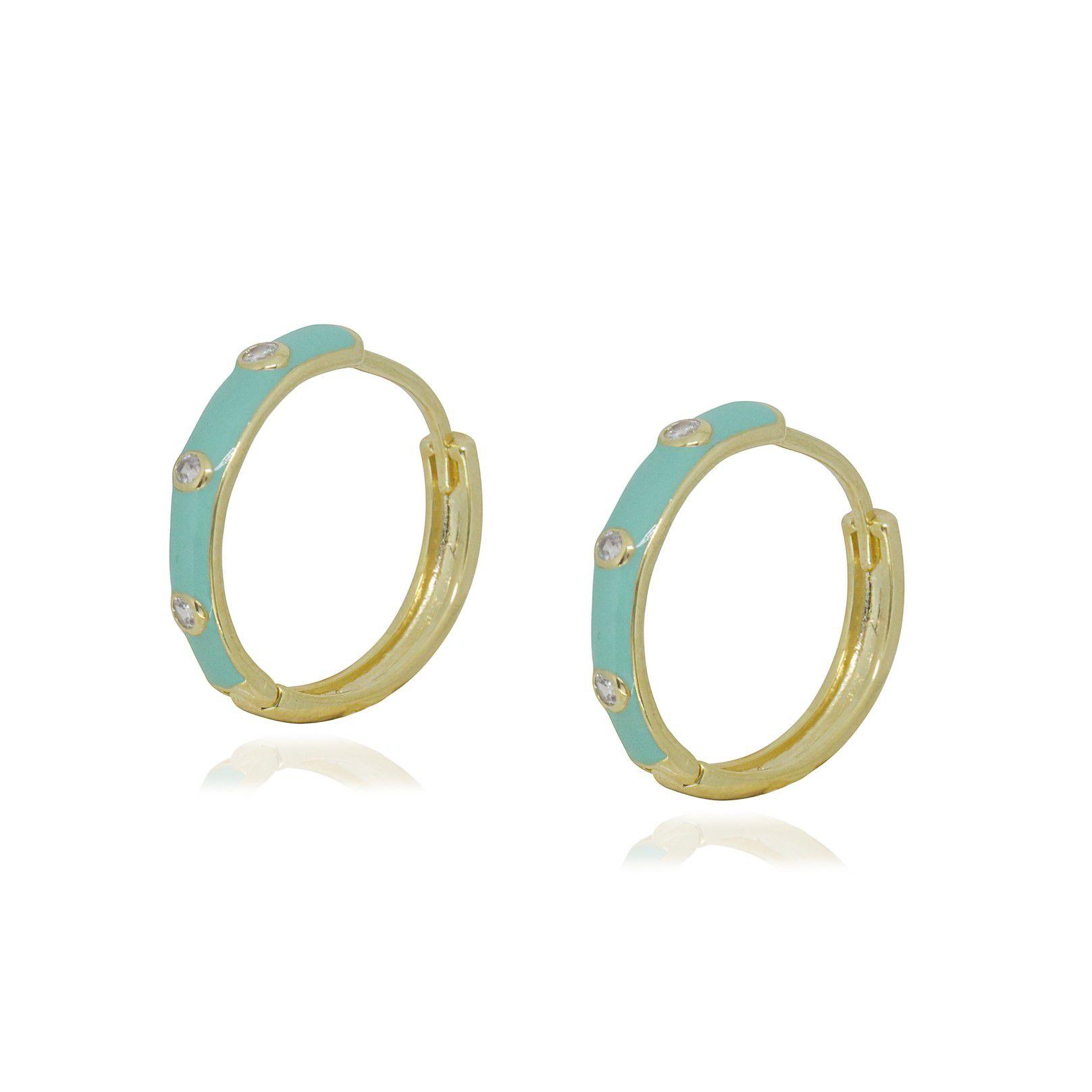 Brinco Semi joia Argola Elite Color com pontos de luz 2,5 cm folheada a ouro 18k ou rhodium e resinada