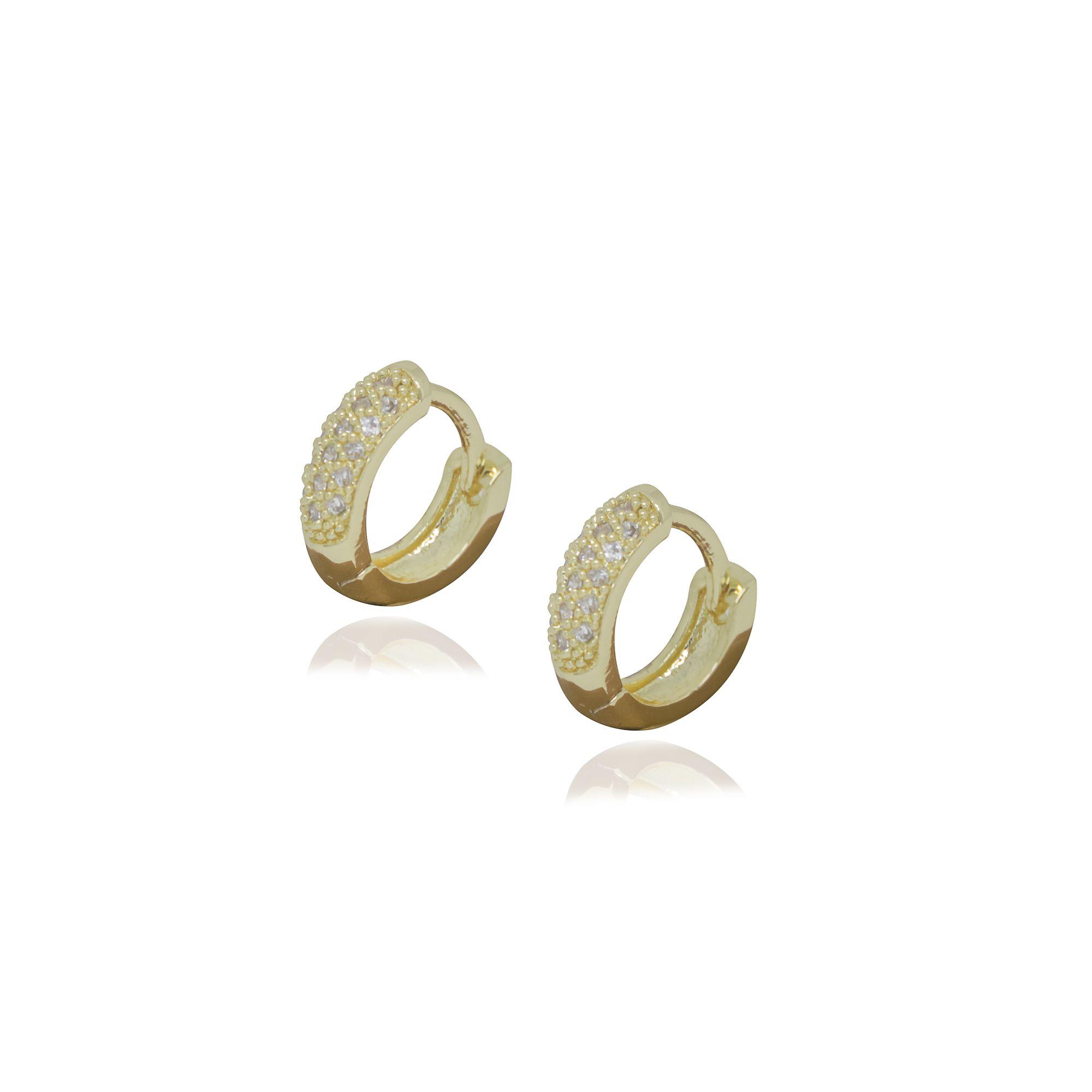 Brinco Semi joia argola fina 1,2 x 0,3 cm cravejada em microzircônia e folheada a ouro 18k ou rhodium