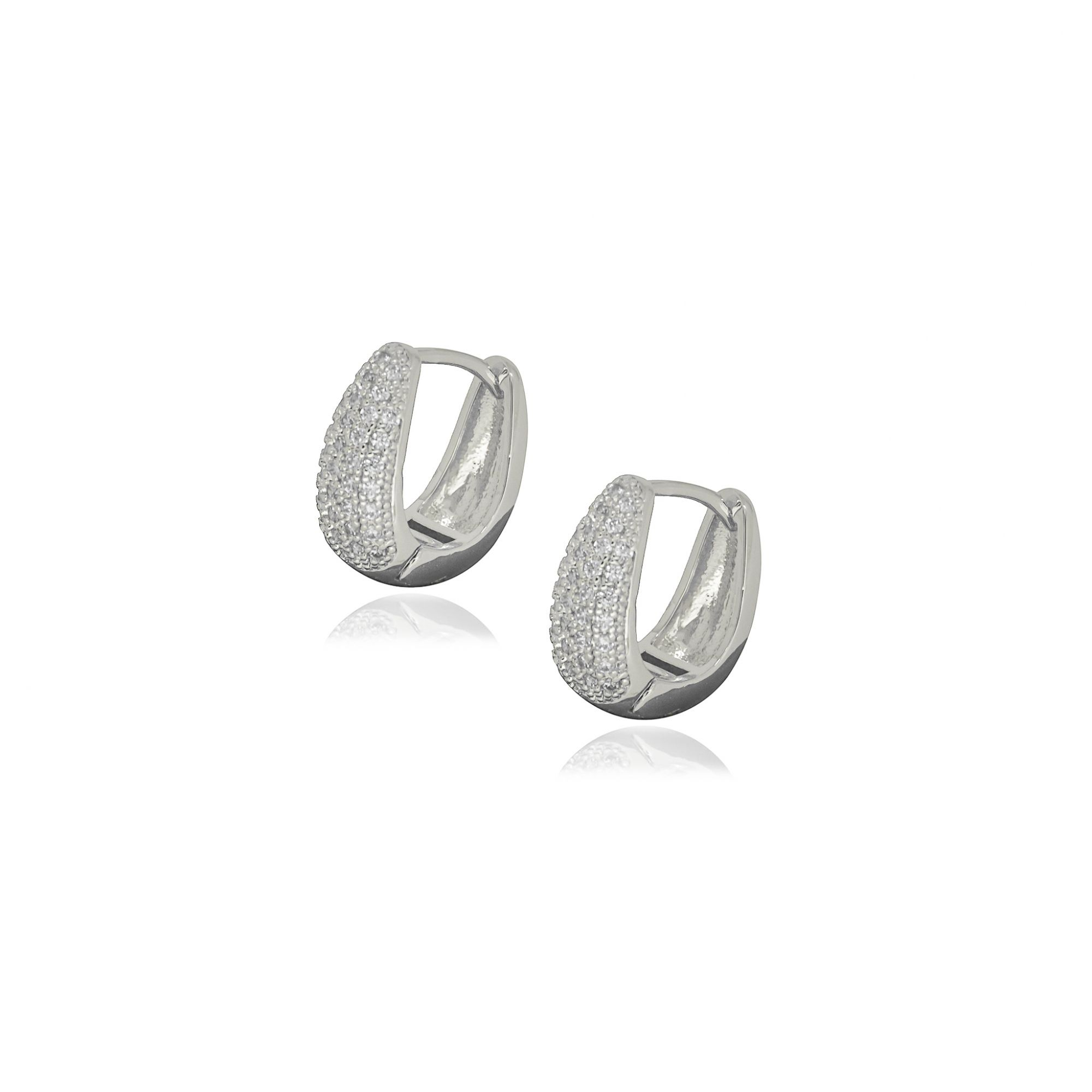 Brinco Semi joia argola U cravejada 1,5 x 0,7 cm cravejada em microzircônia e folheada a ouro 18k ou rhodium