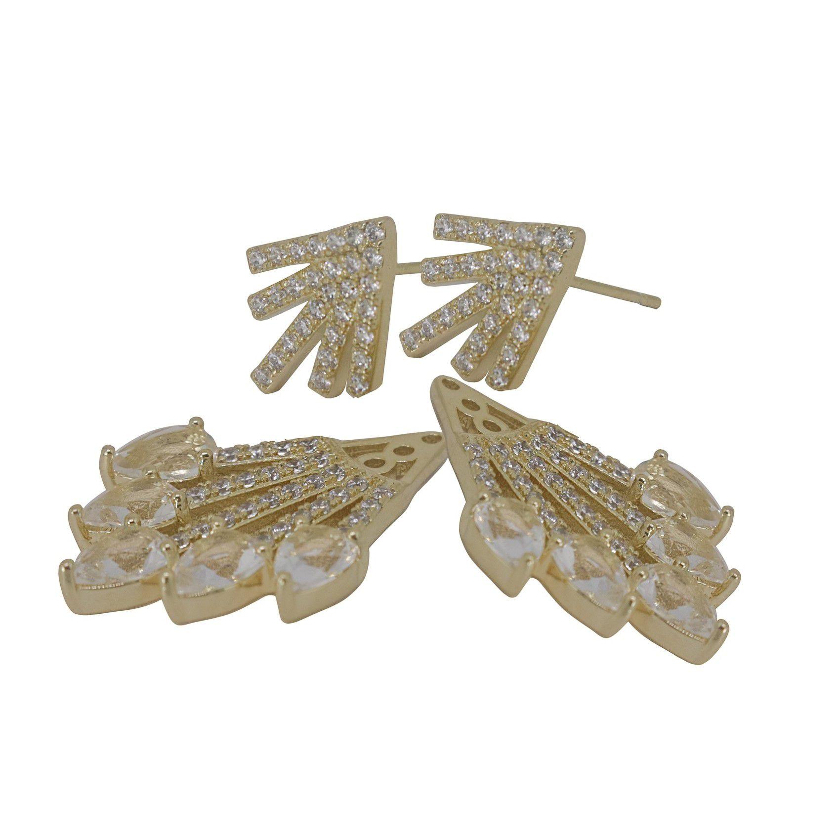 Brinco Semi joia chuvas cravejado em microzircônia banhado a ouro 18k ou rhodium