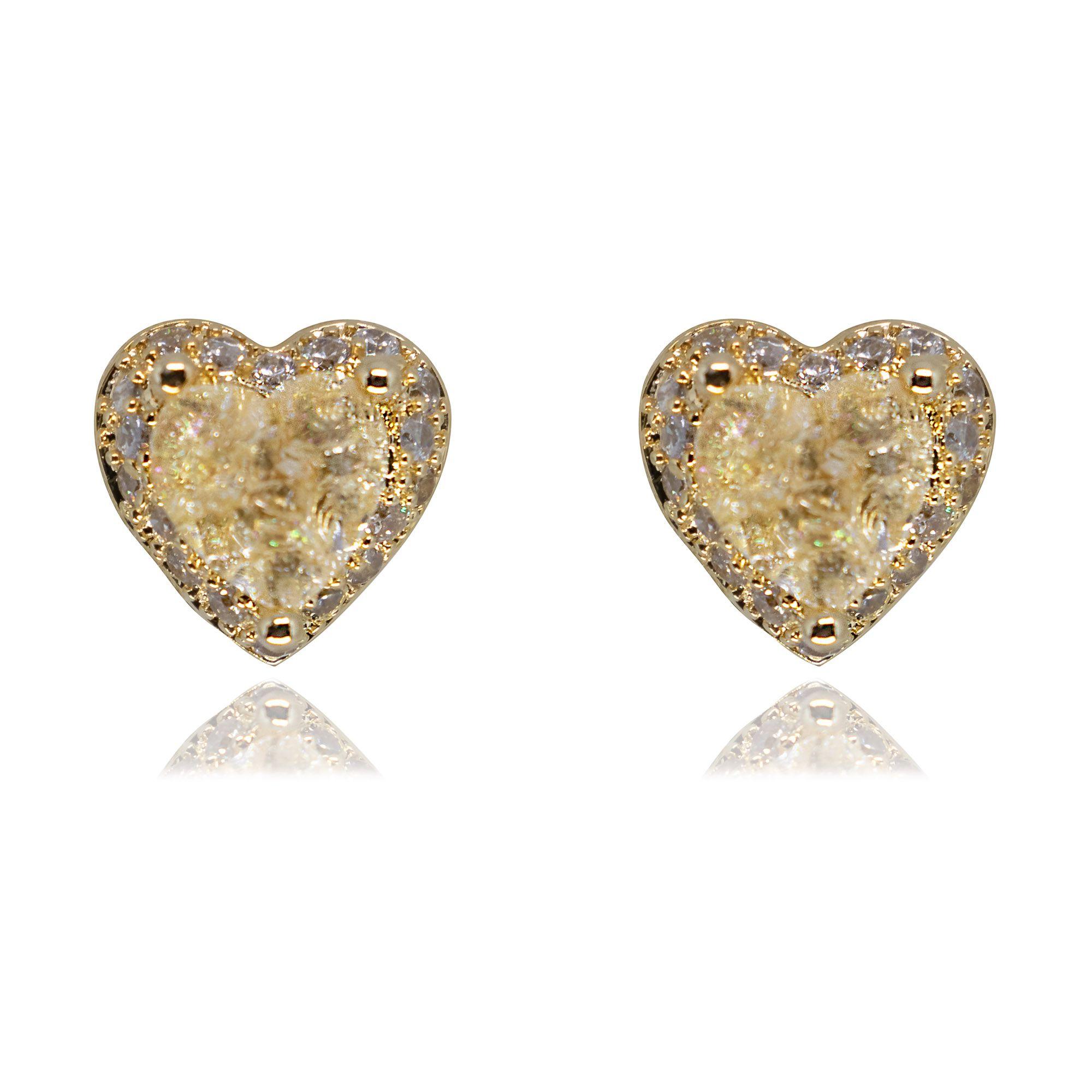 Brinco  Semi joia coração com zircônia Cravejada banhado a ouro 18k ou rhodium