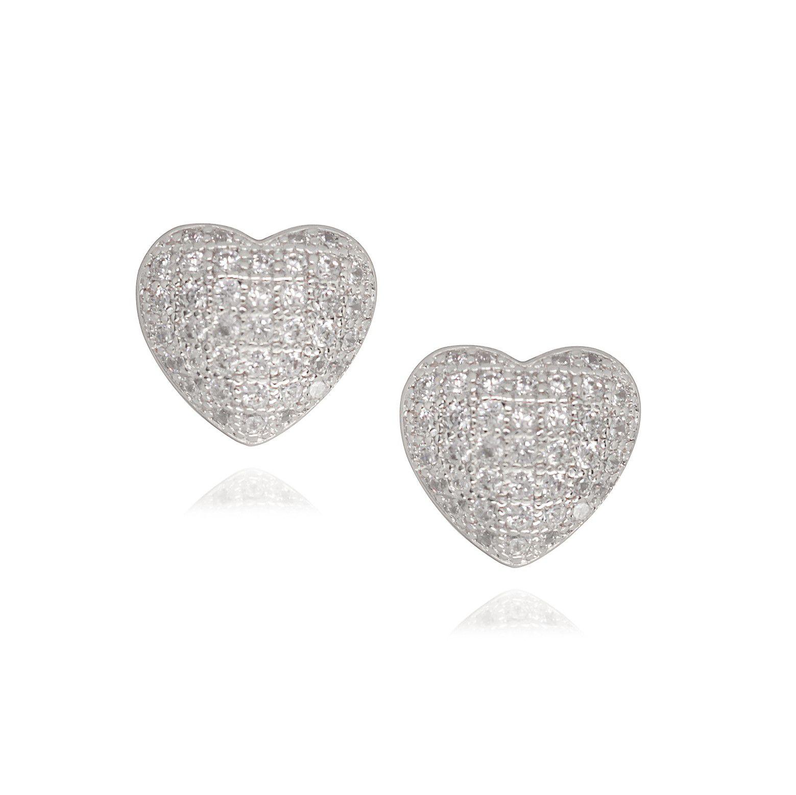 Brinco Semi joia coração cravejado em microzircônia folheado a ouro 18k ou rhodium