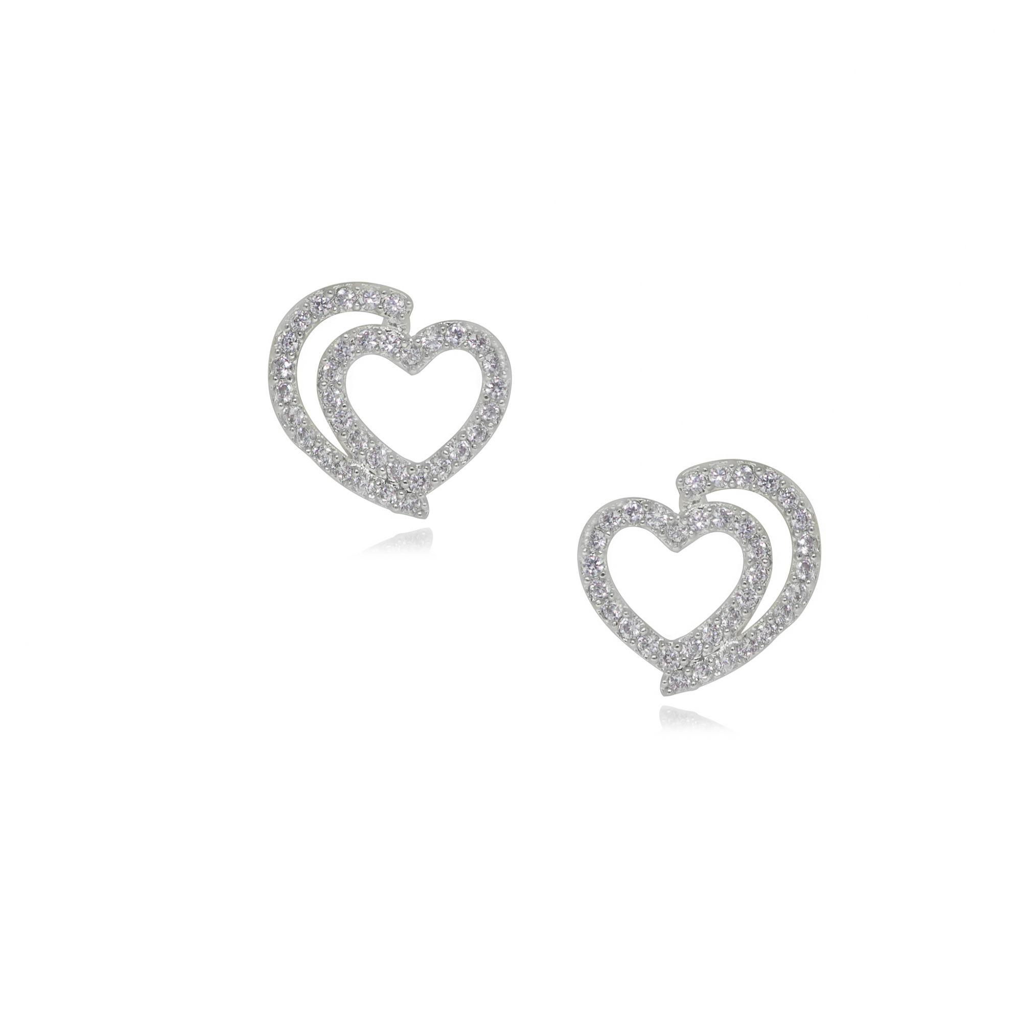 Brinco semijoia em zirconia folheado Coração duplo