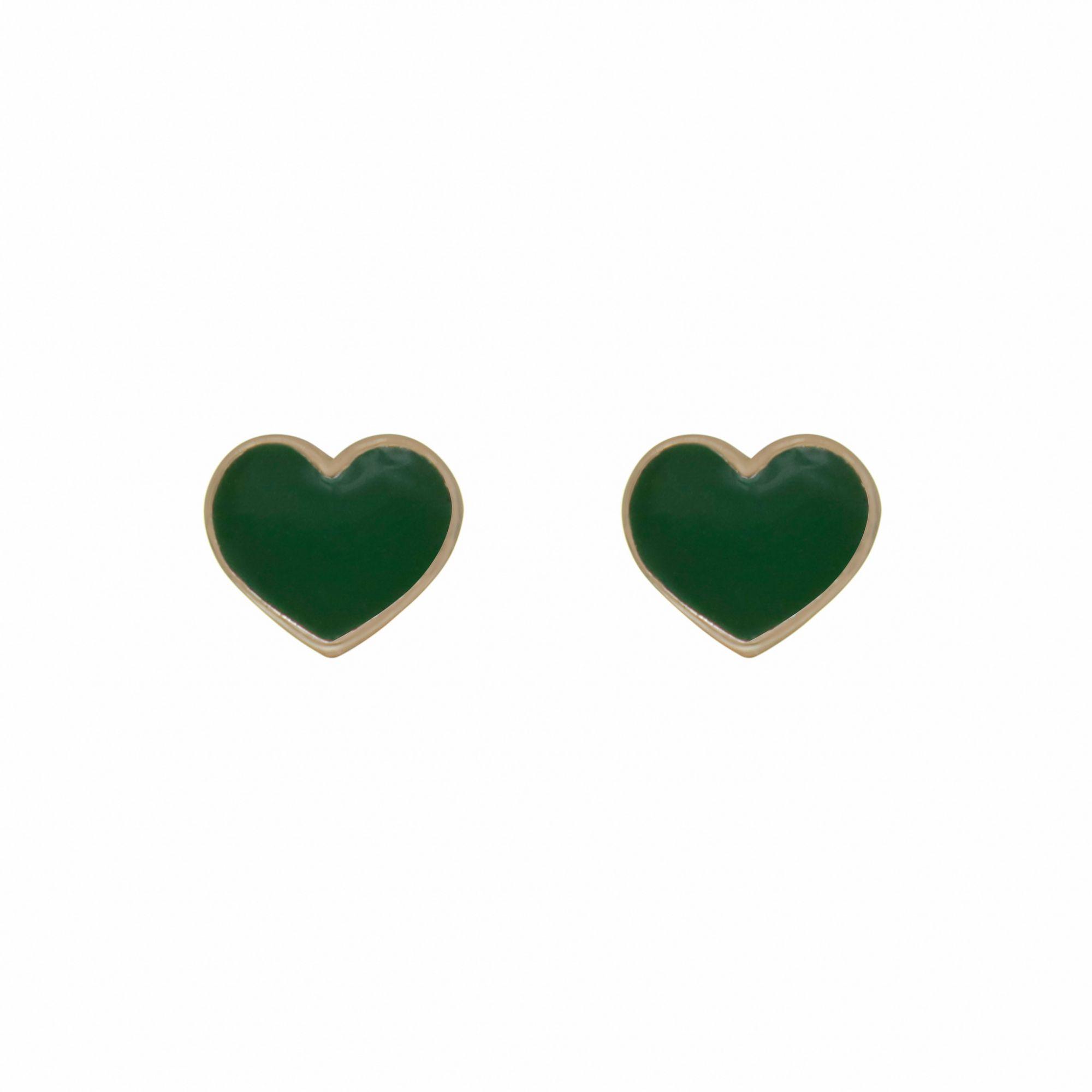 Brinco semijoia Coração resinado color