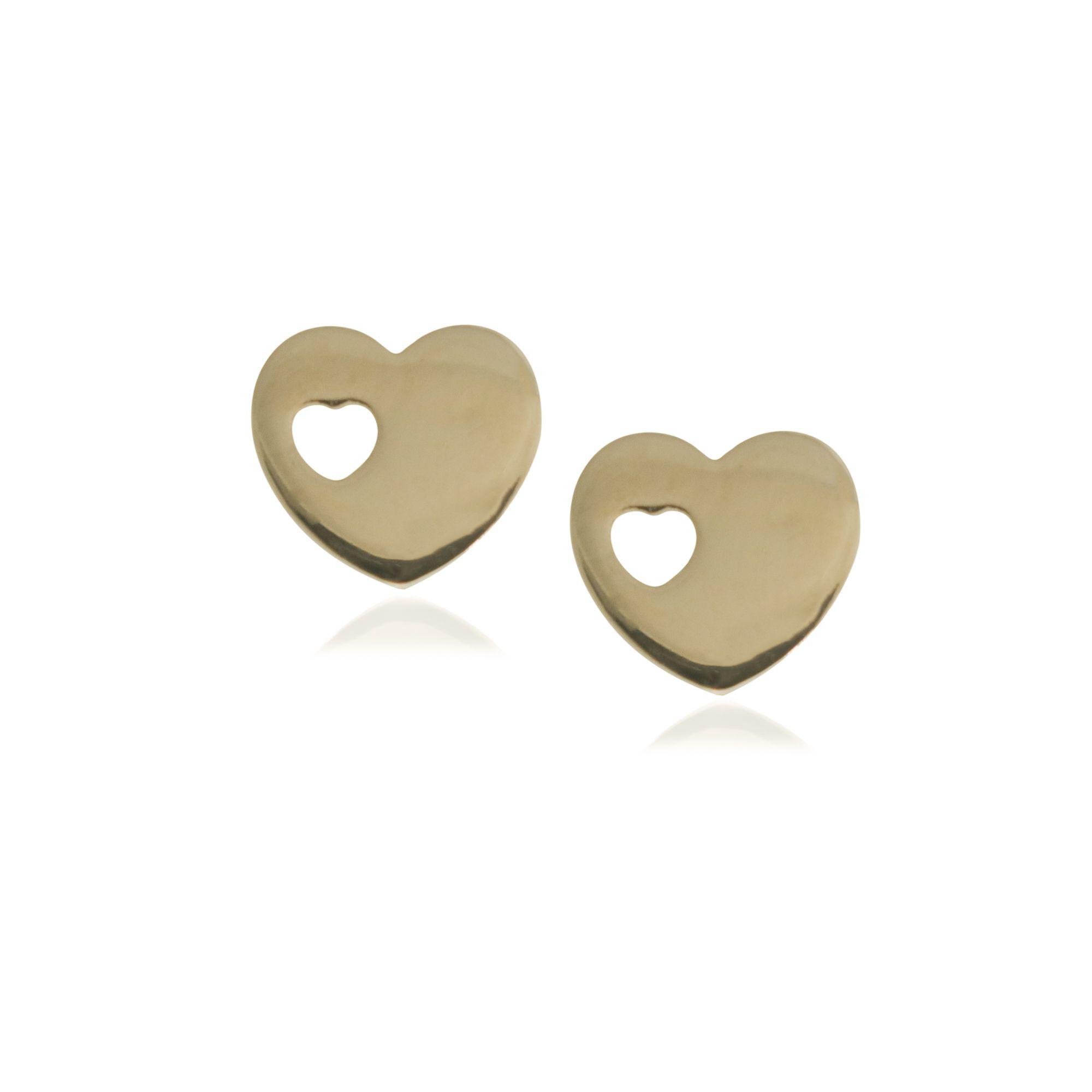 Brinco Semi joia coração vazado folheado a ouro 18k ou rhodium