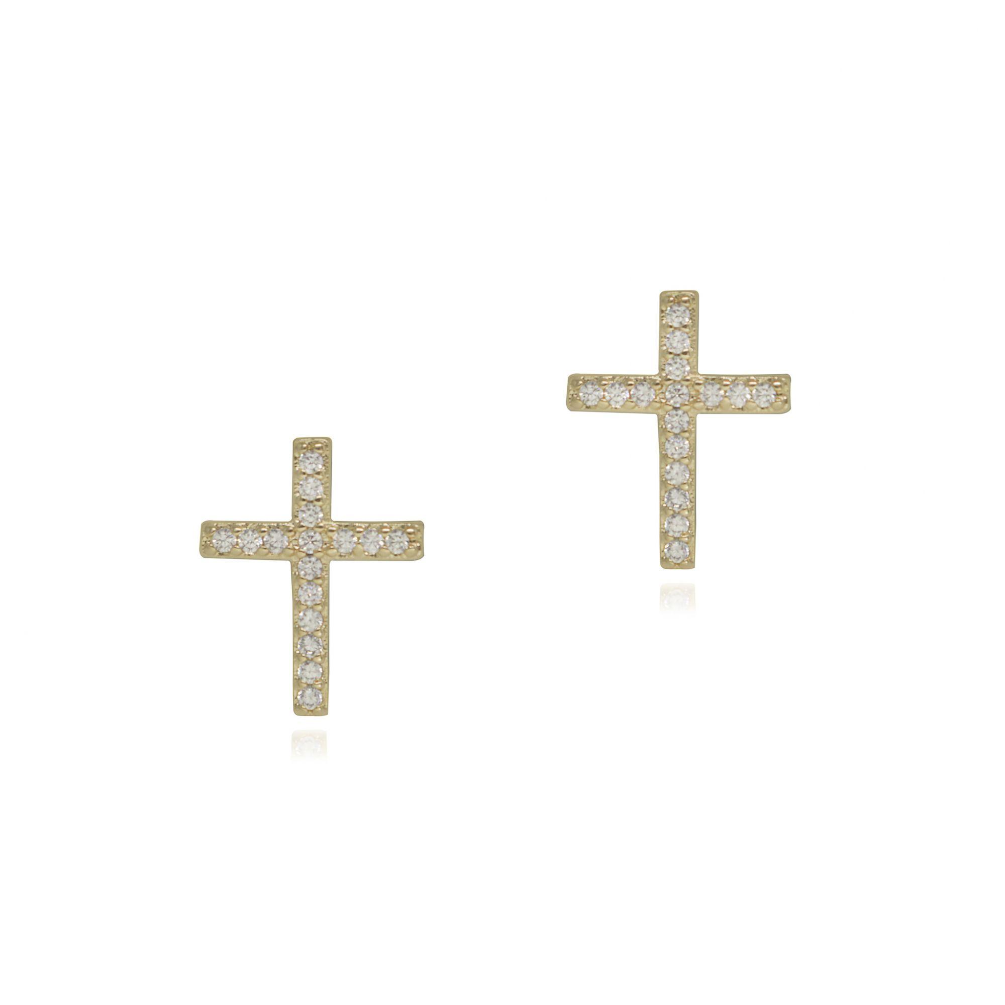 Brinco folheado semijoia Crucifixo cravejado em zirconia