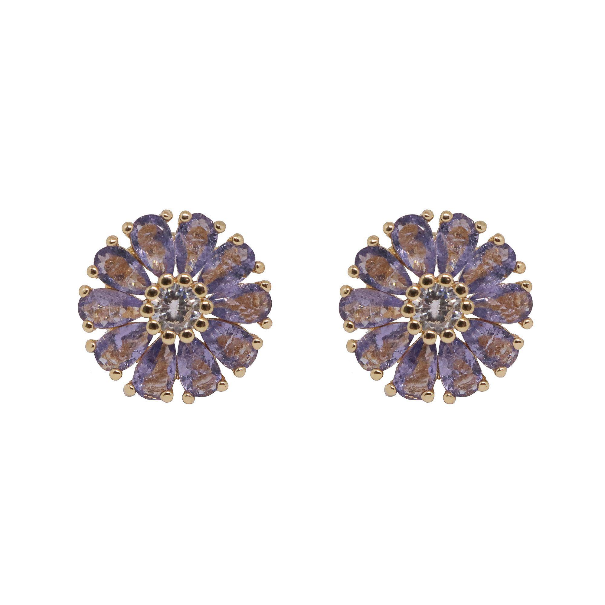 Brinco folheado semijoia Flor de zirconia Fusion
