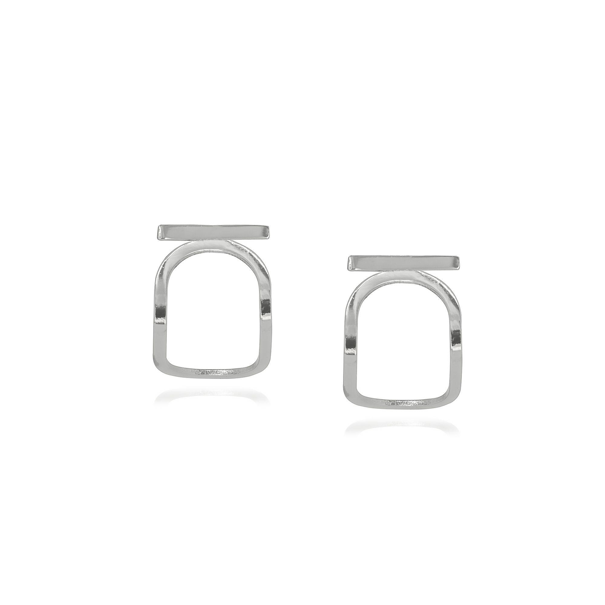 Brinco folheado semijoia geométrico estilo minimalista Oval