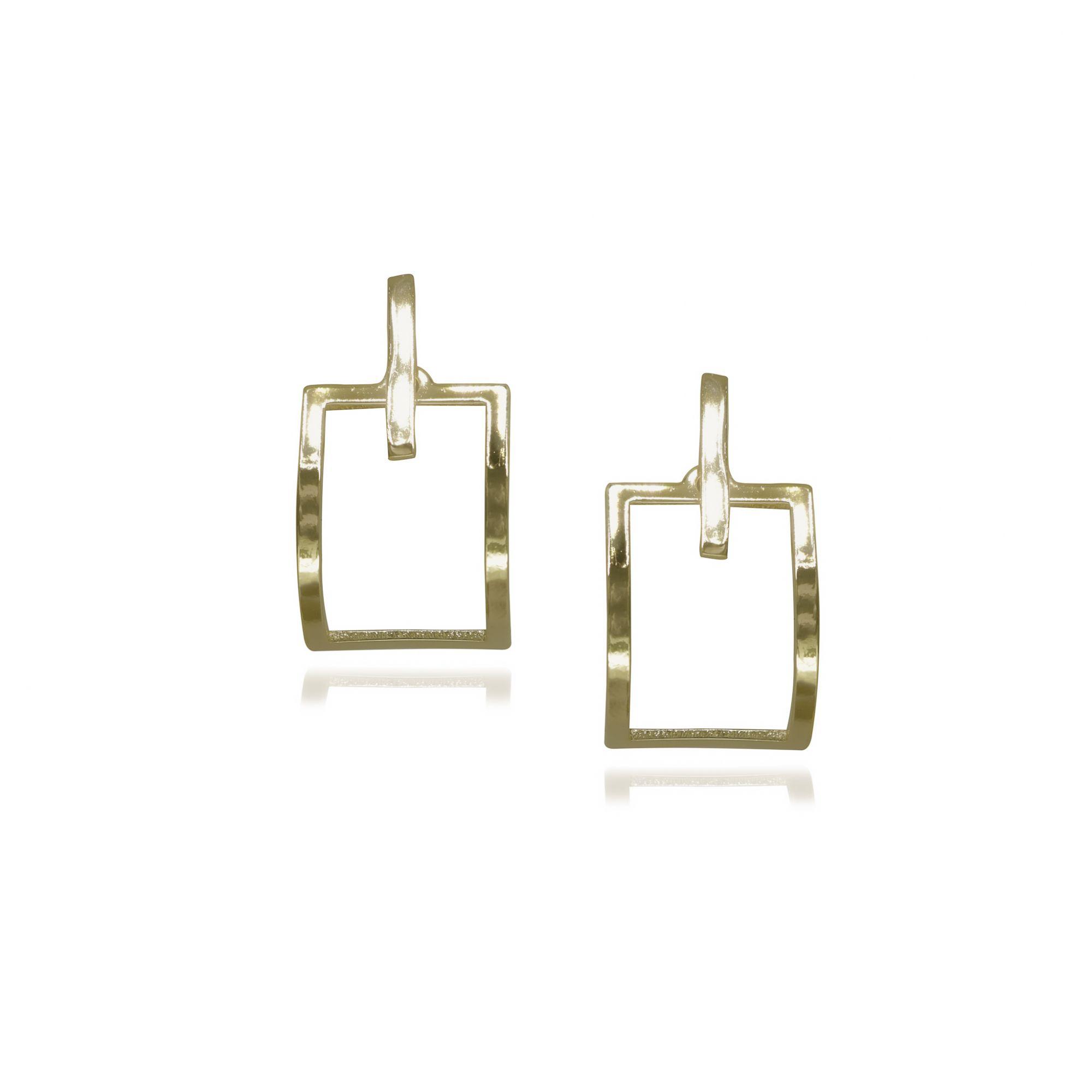 Brinco Semi joia geométricos ovalados Retangular banhado a ouro 18k ou rhodium