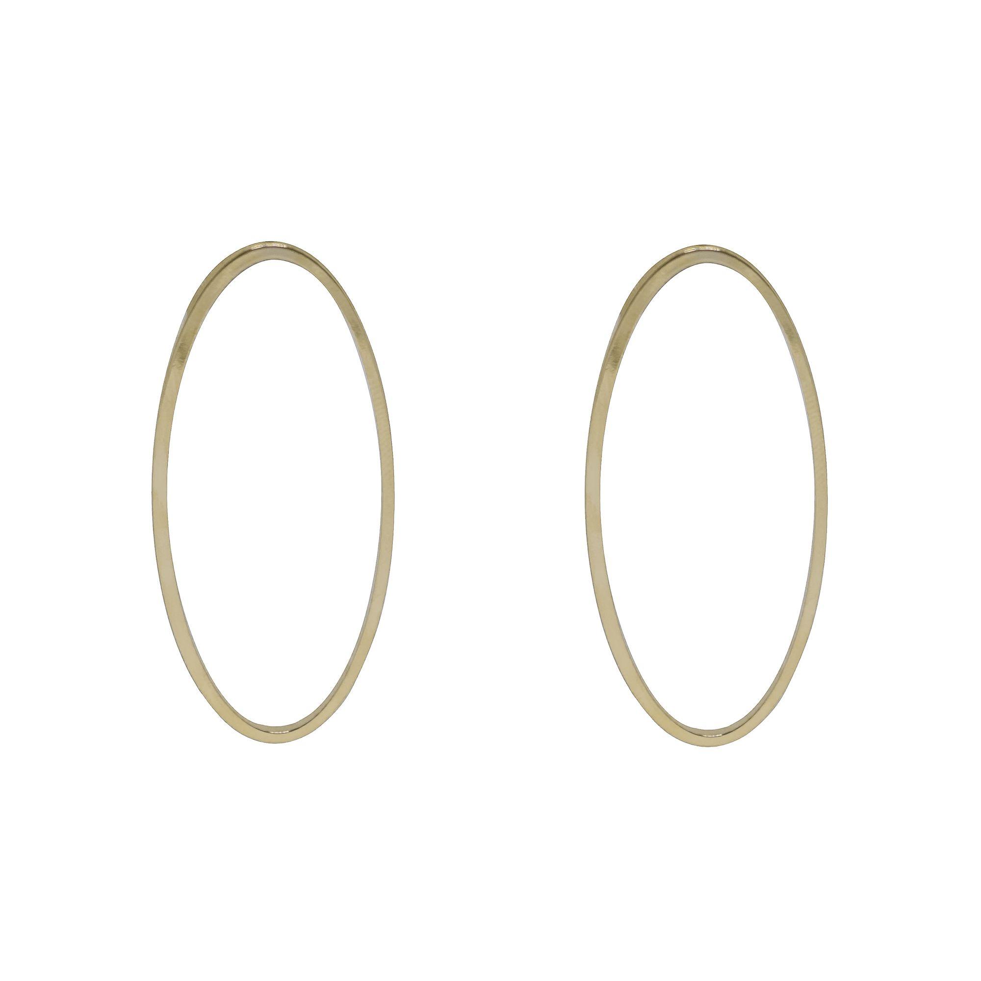 Brinco folheada semijoia Oval vazado estilo minimalista
