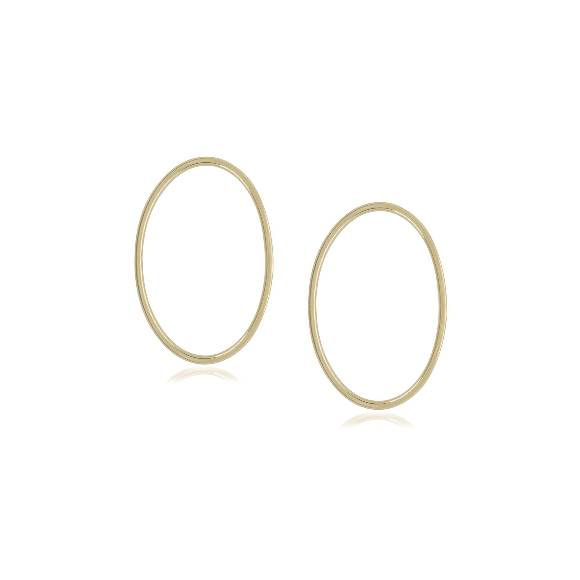 Brinco folheado semijoia e minimalista Oval vazado P