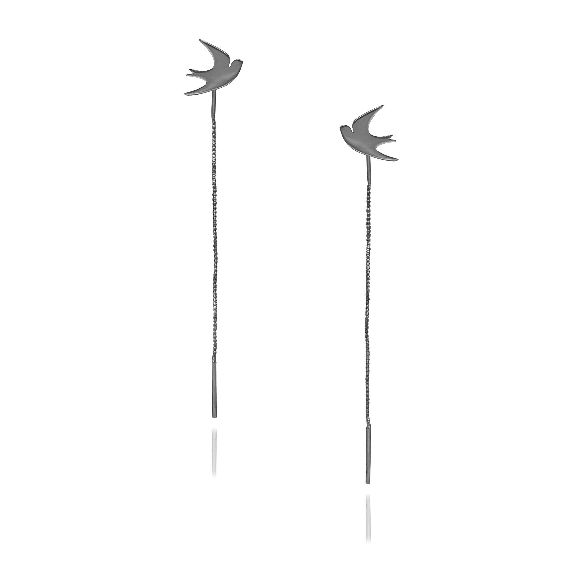 Brinco Semi joia  pássaros Andorinha com corrente folheado a ouro 18k ou rhodium