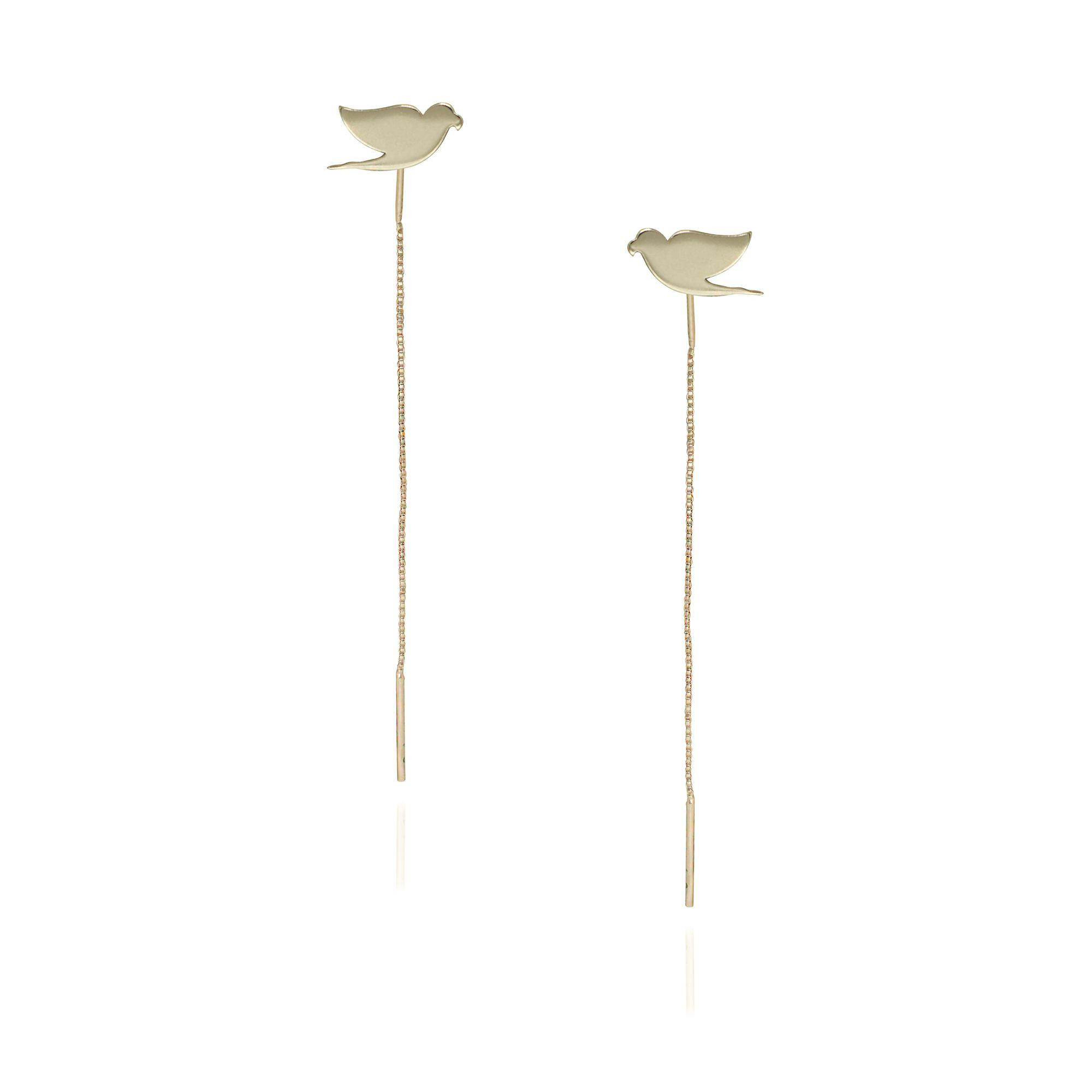 Brinco folheada semijoia minimalista Arara e corrente