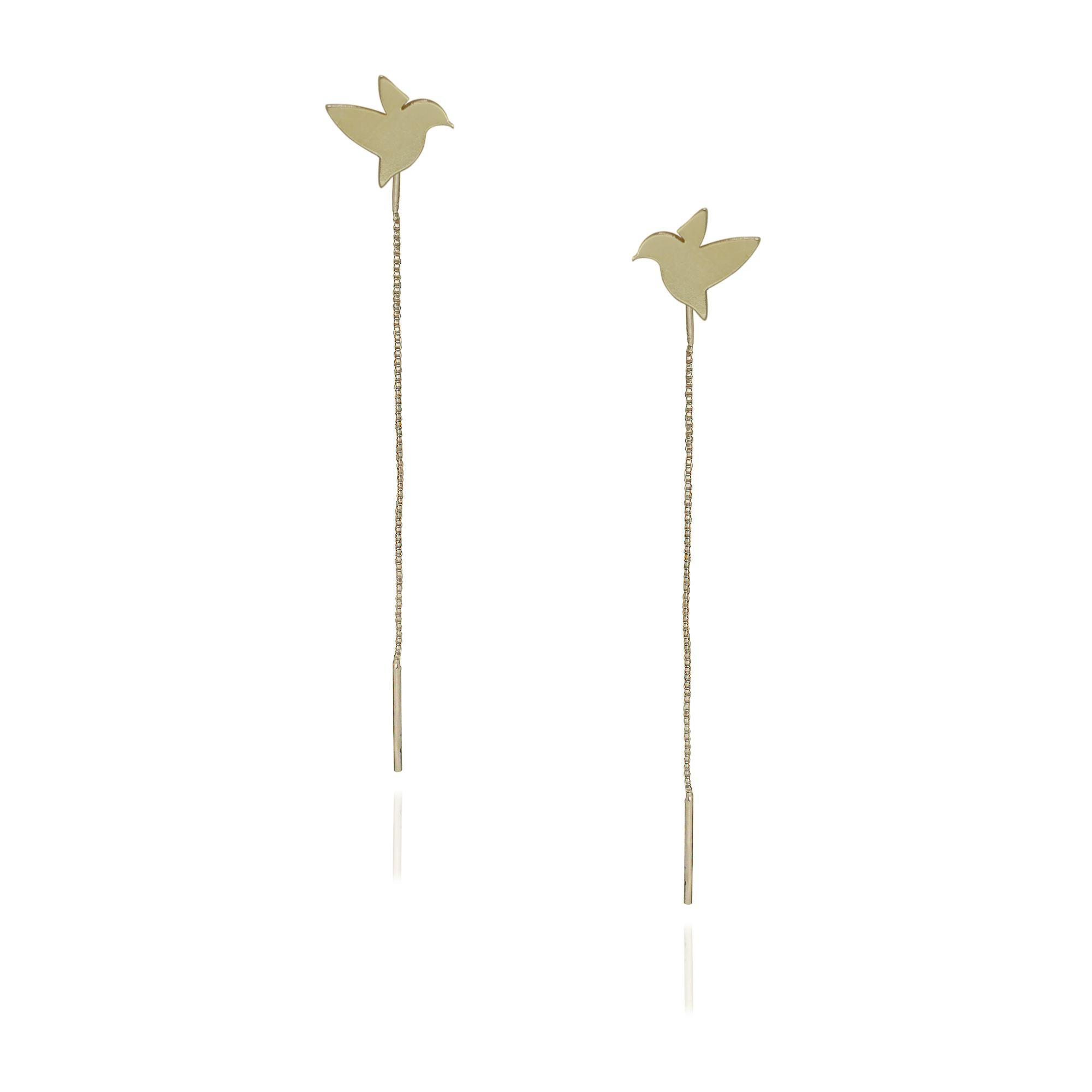 Brinco Semi joia  pássaros Beija Flor com corrente folheado a ouro  18k ou rhodium
