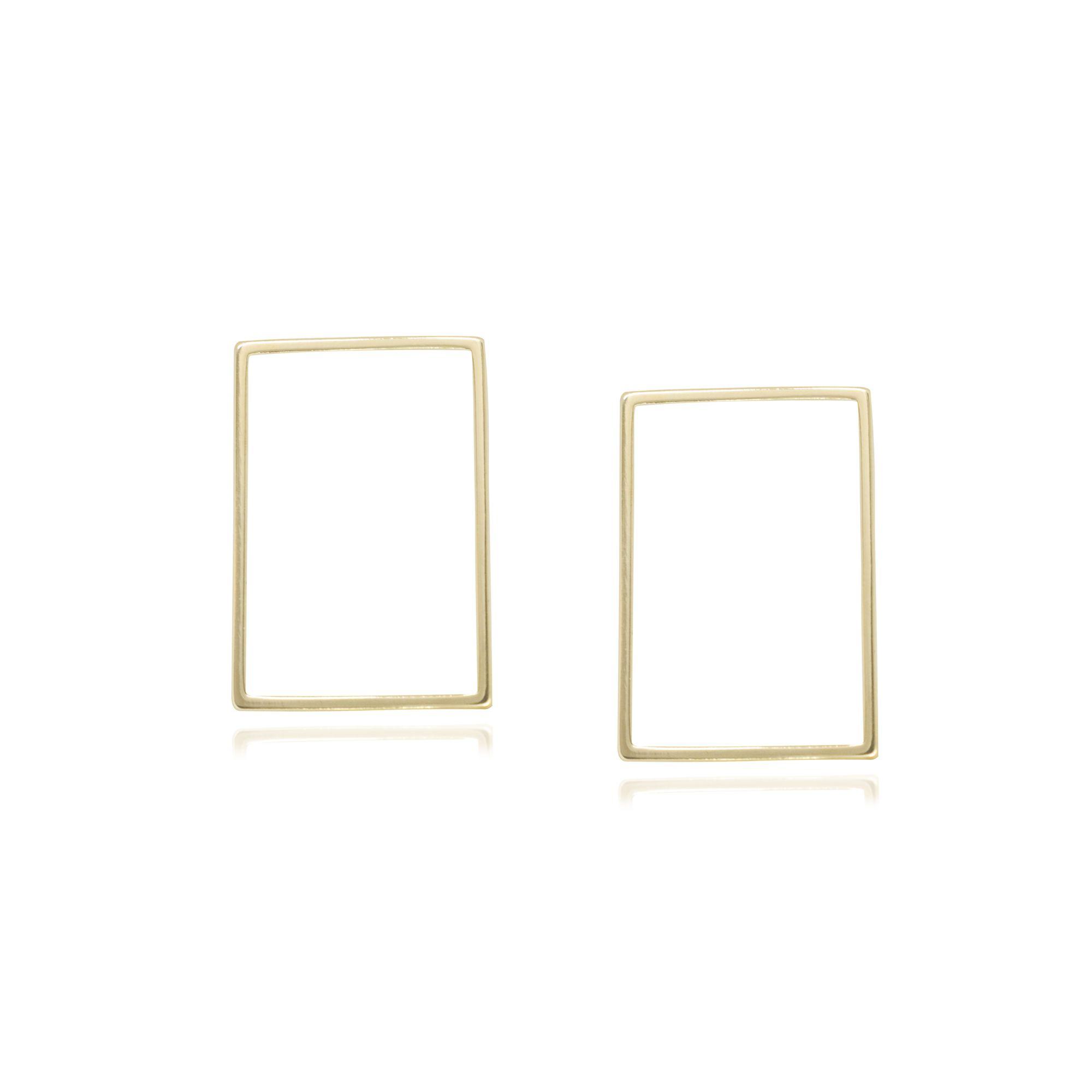 Brinco Semi joia  retângulo vazado P estilo minimalista  a ouro 18k ou rhodium
