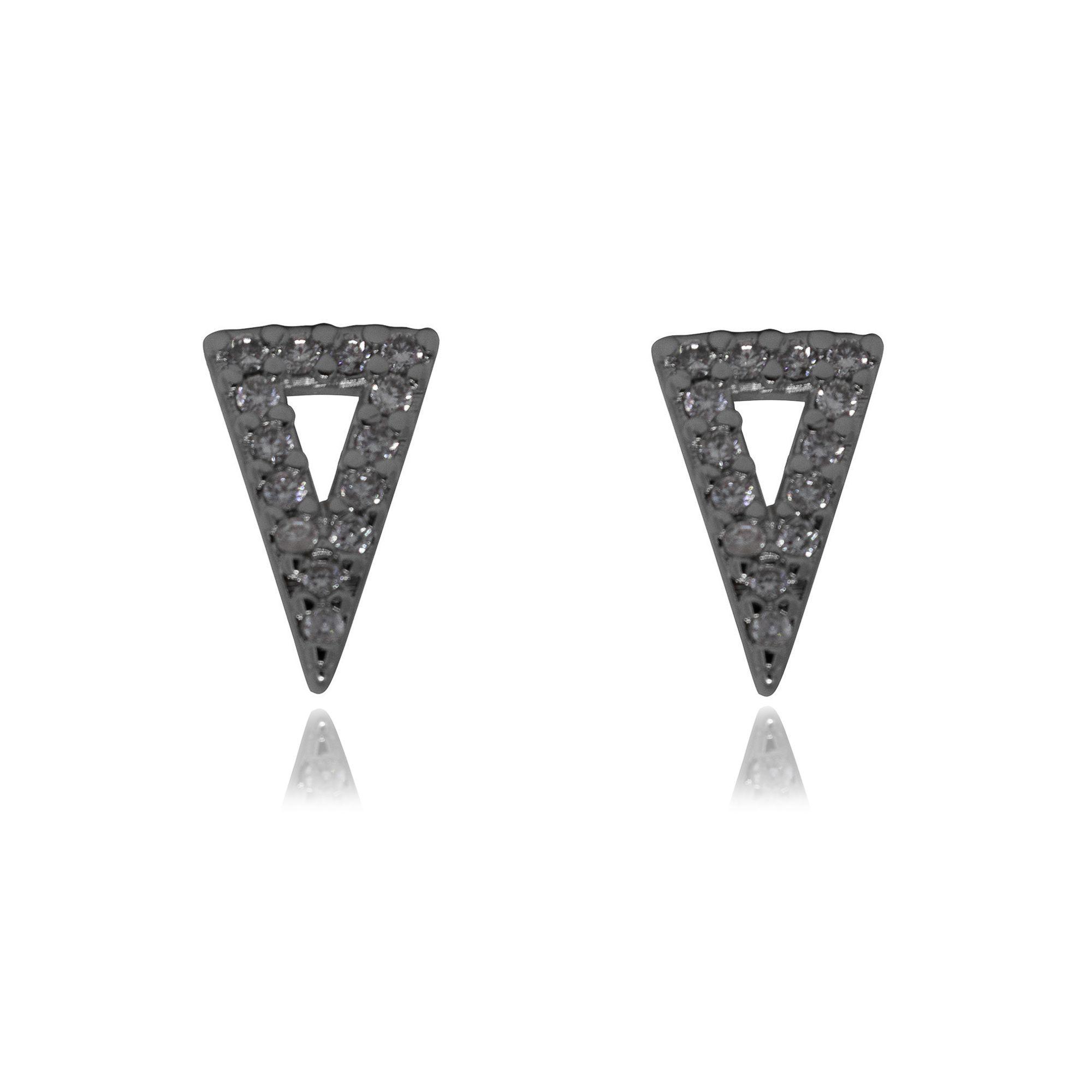 Brinco Semi joia triangular folheado a ouro 18k ou rhodium mini